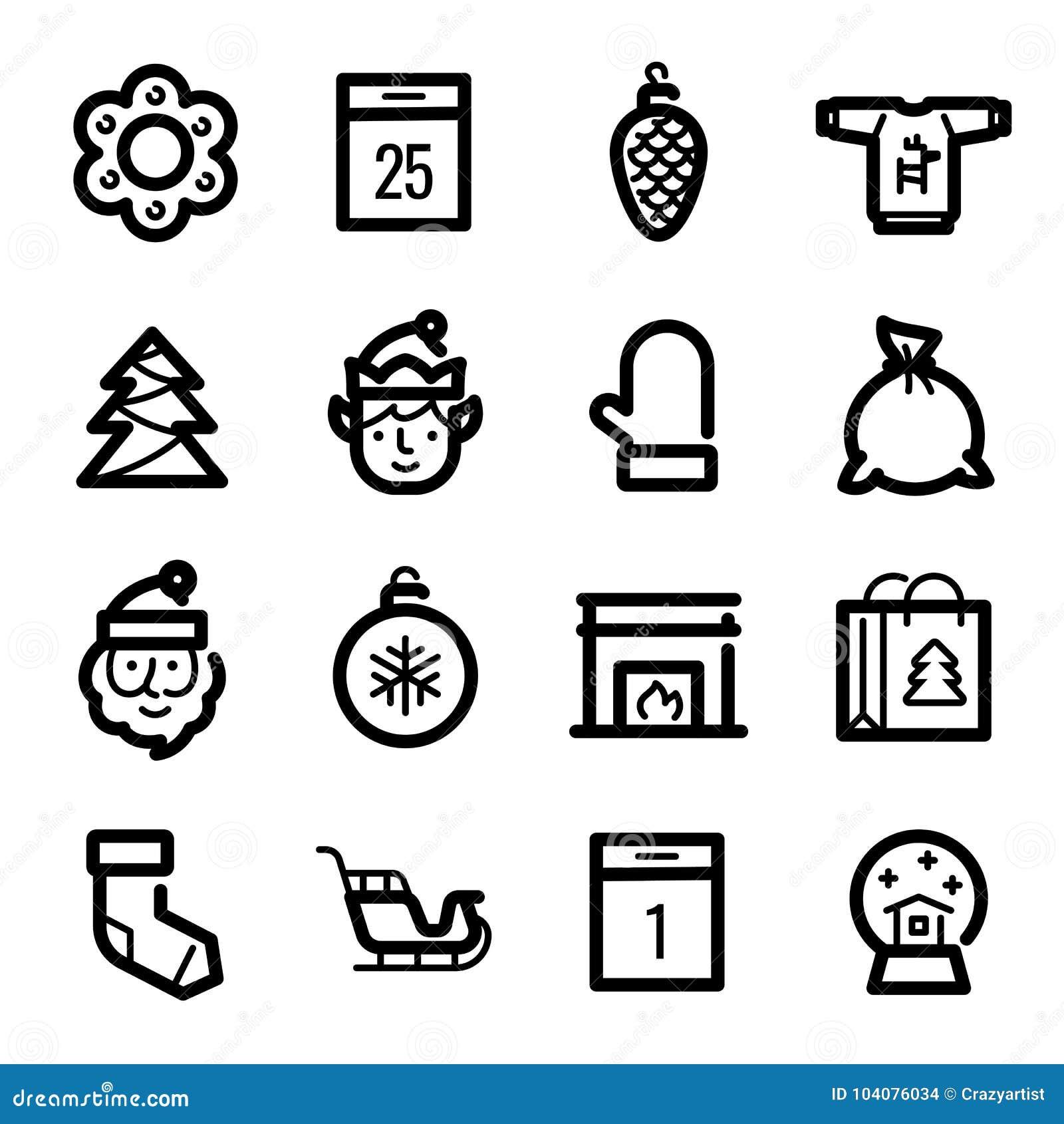 Kerstmispictogrammen - Santa Claus, elf en slee