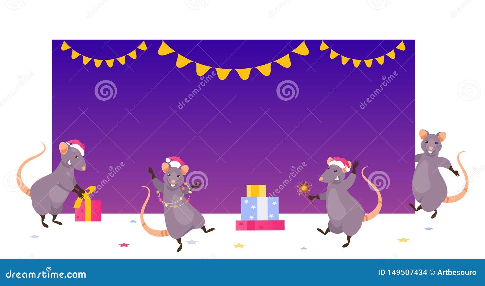 Kerstmisratten bij de lege banner