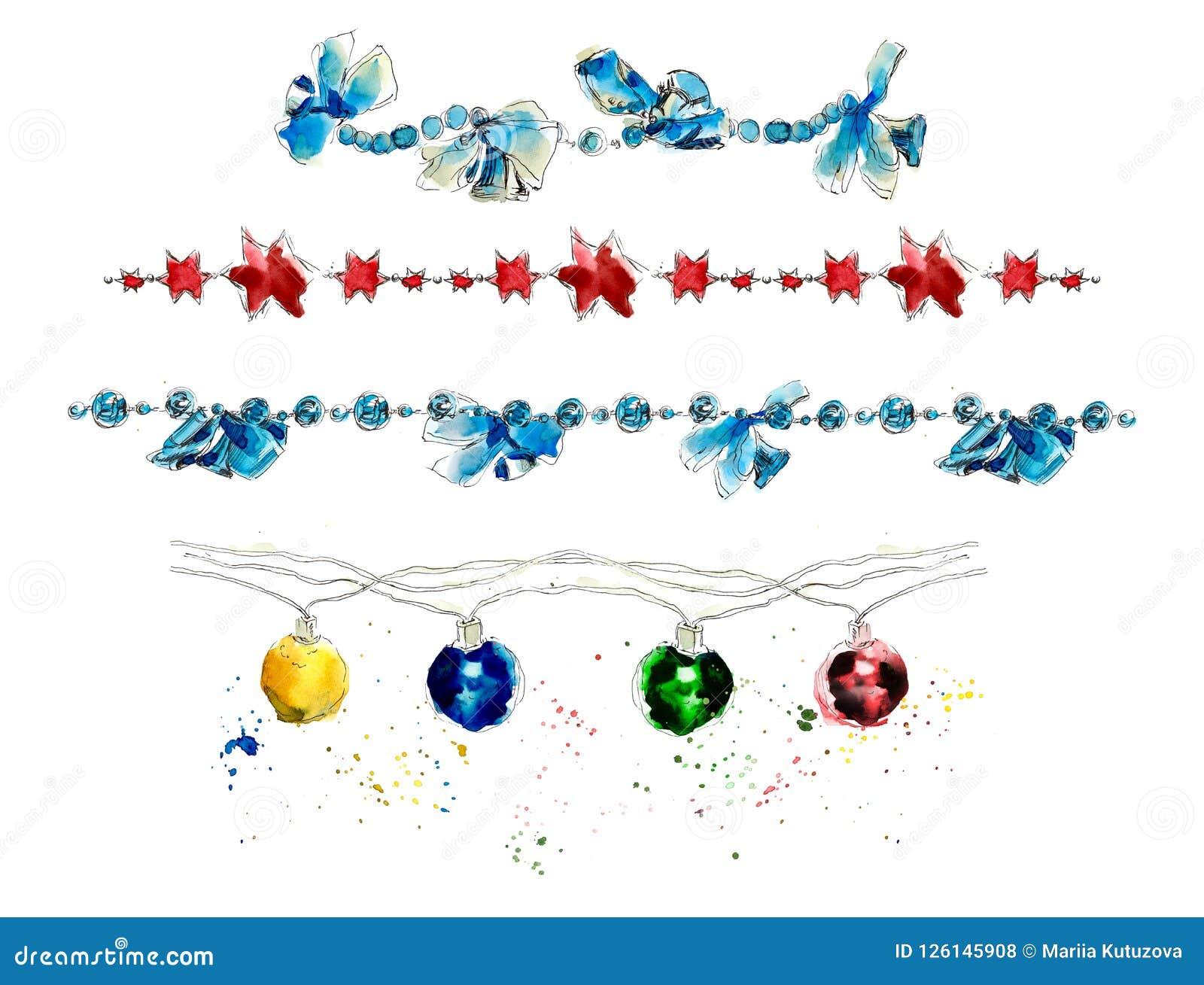 Kerstmisslingers decoratie Waterverfhand getrokken illustratie