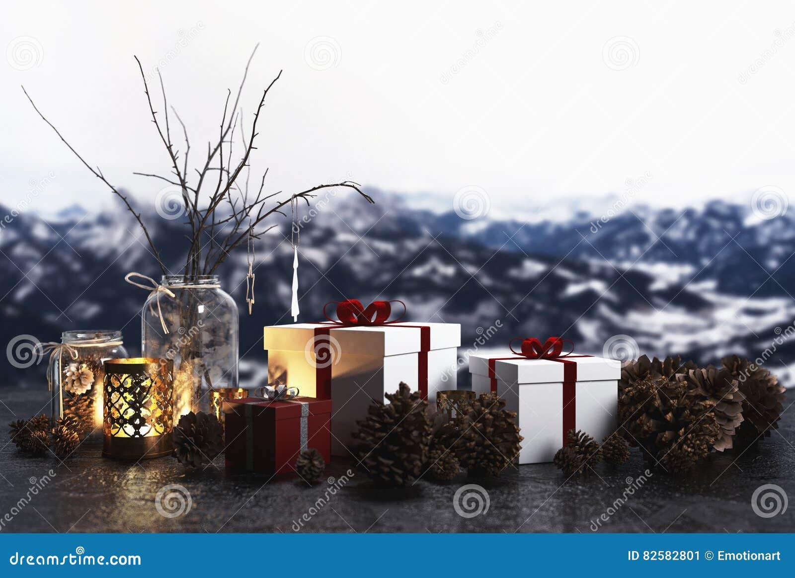 Kerstmisstilleven op een vensterbank met alpen