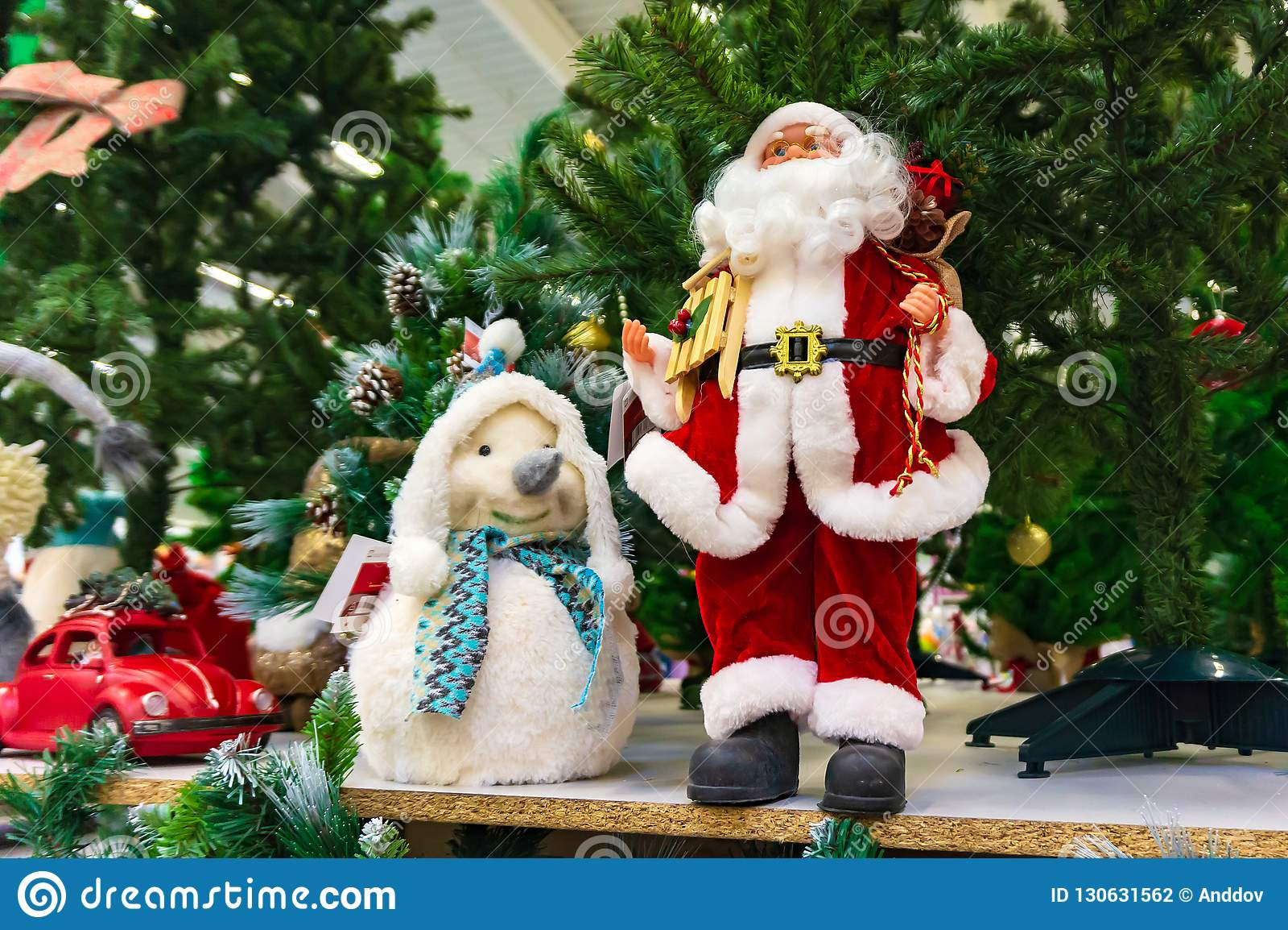 Kerstmisstuk speelgoed, het Sneeuwmeisje naast Santa Claus