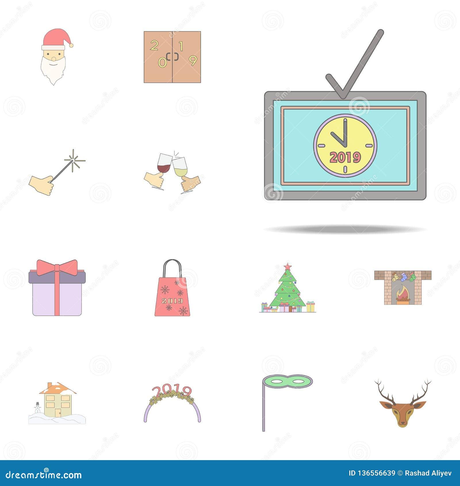 Kerstmistv gekleurd pictogram Voor Web wordt geplaatst dat en mobiel de pictogrammenalgemeen begrip van de Kerstmisvakantie