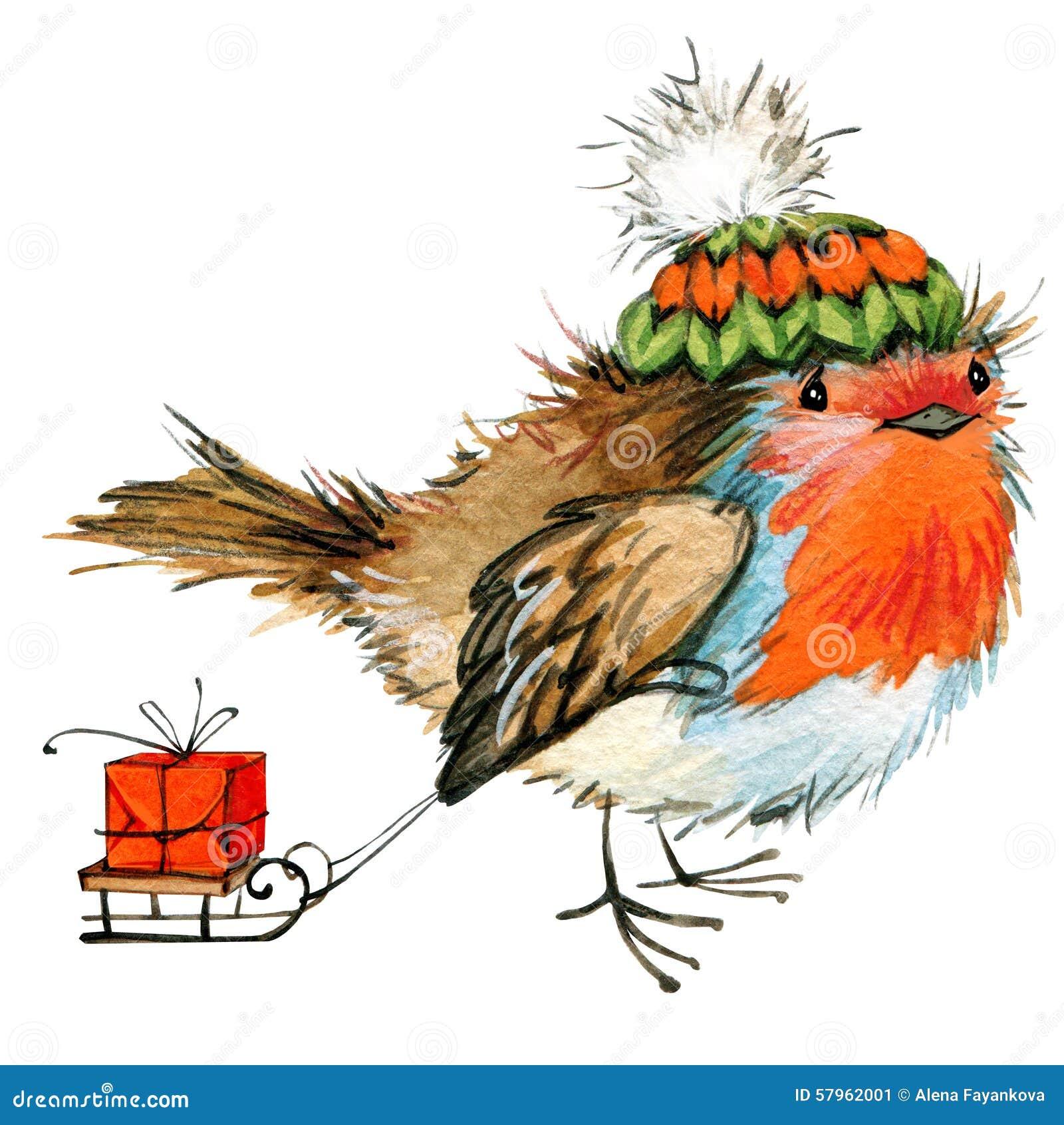Kerstmisvogel en Kerstmisachtergrond De illustratie van de waterverf