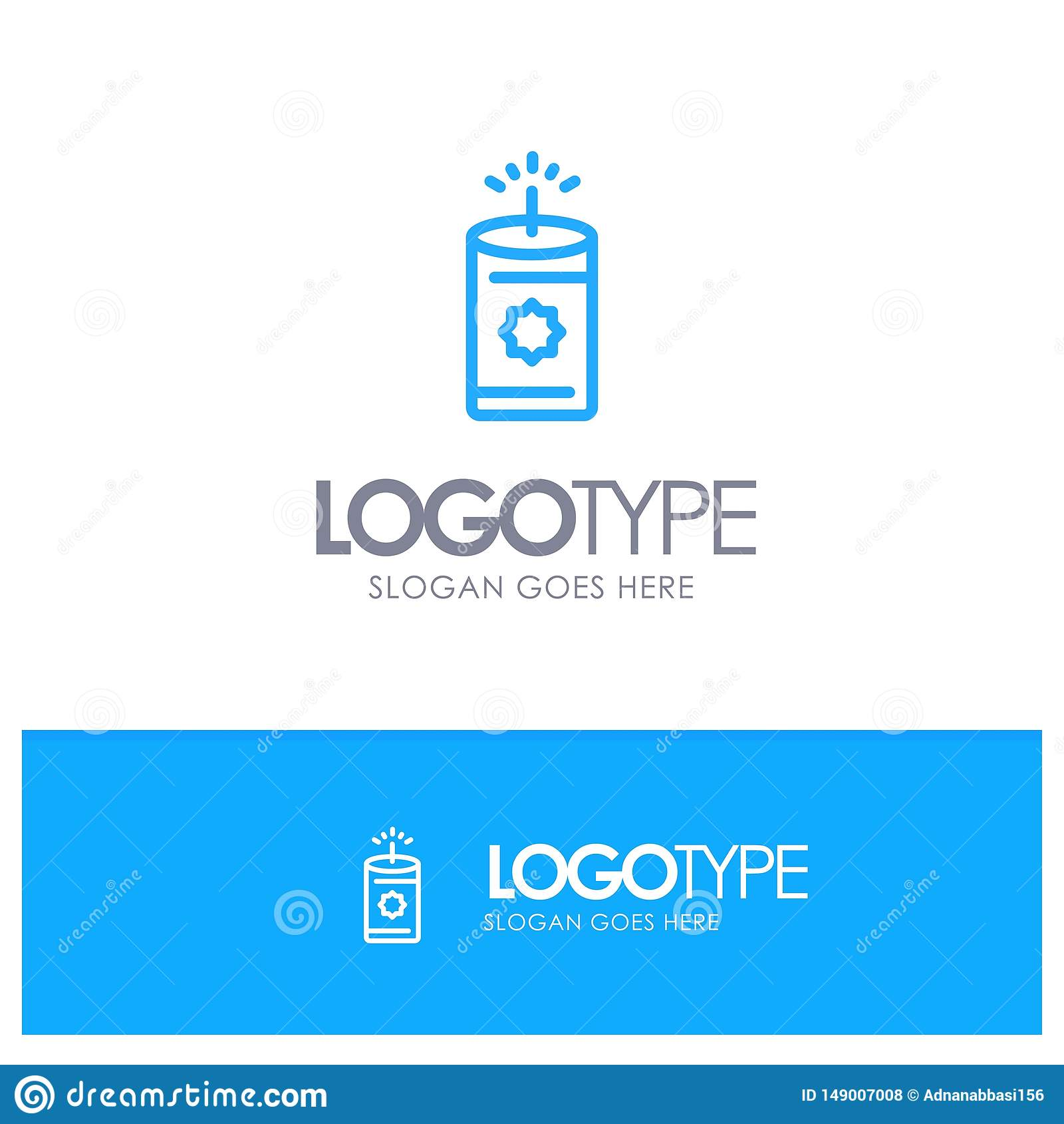 Kerze, China, chinesischer blauer Logo Line Style