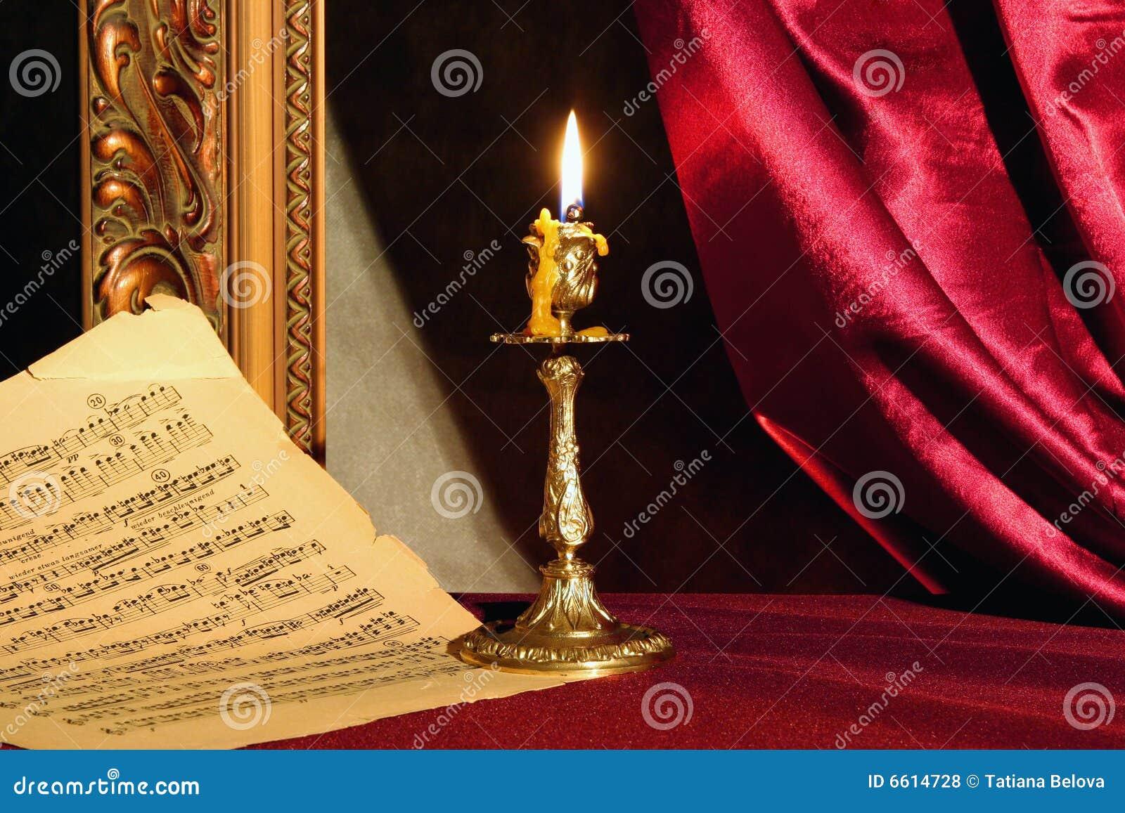 Kerze- und Musikblatt