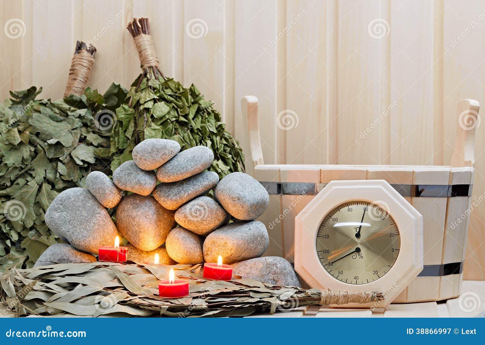 Kerzen, Steine Für Sauna Und Bad