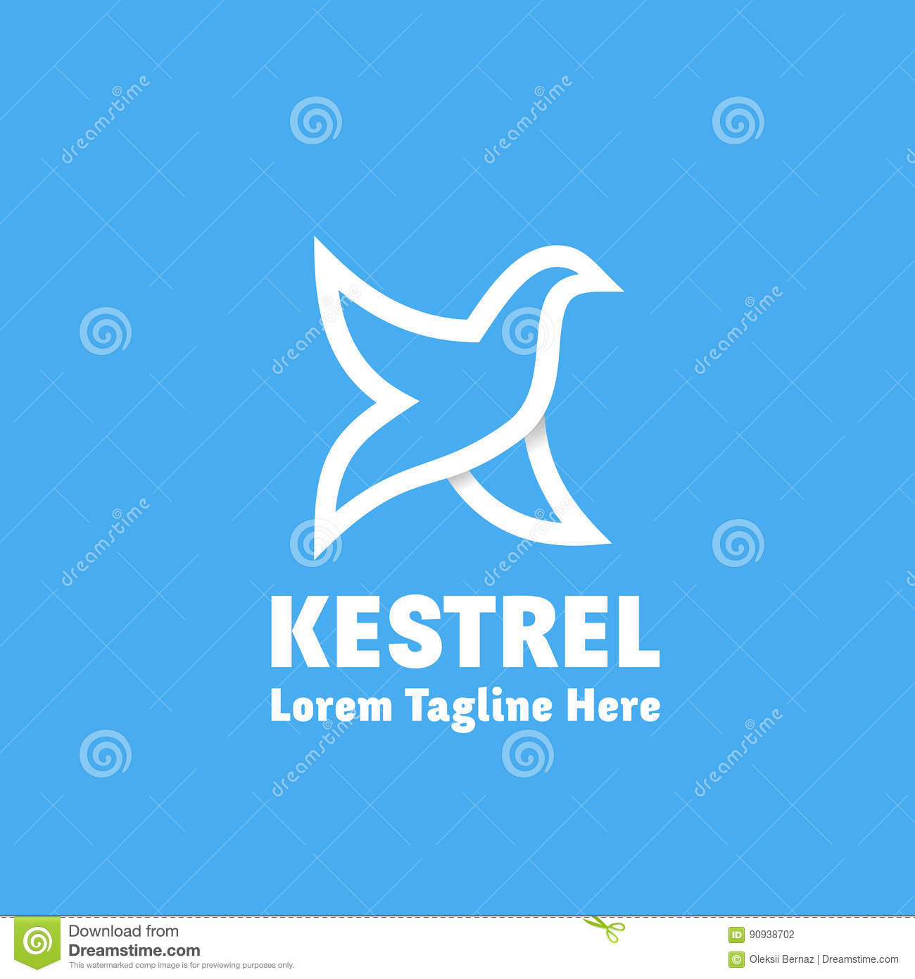 Kestrel Abstract Vector Sign Emblem Or Logo Template Bird As Letter K Symbol Line Style Silhouette With Typography White On Blue Background