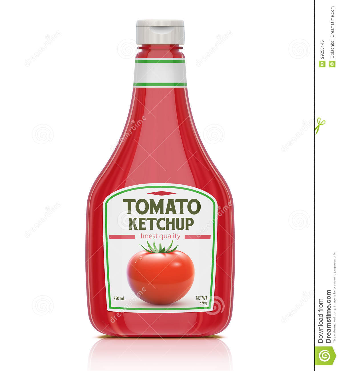 Vector illustration of ketchup bottle on white background.