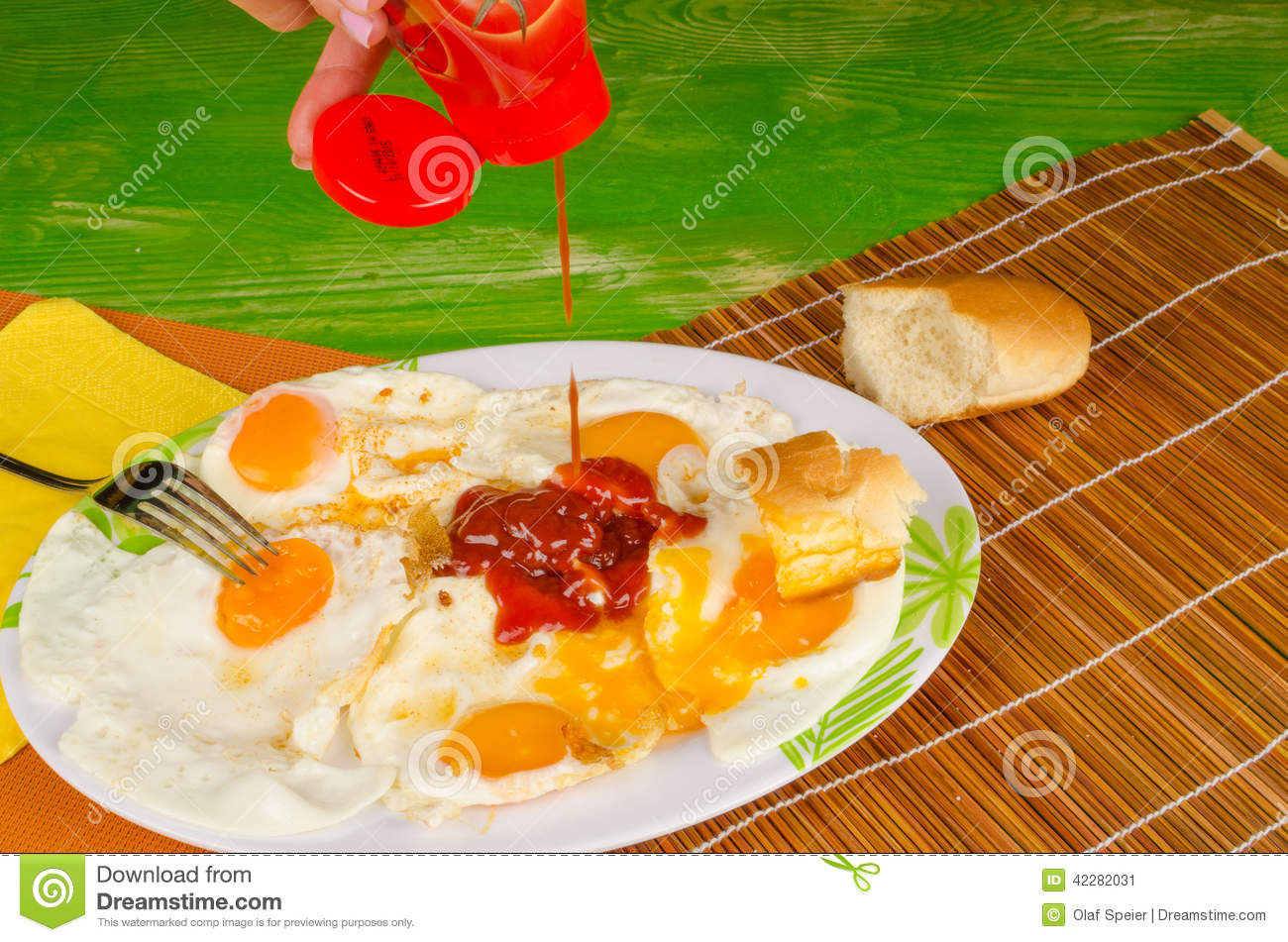 Ketchup On Eggs , Fast Food Stock Photo - Image: 42282031