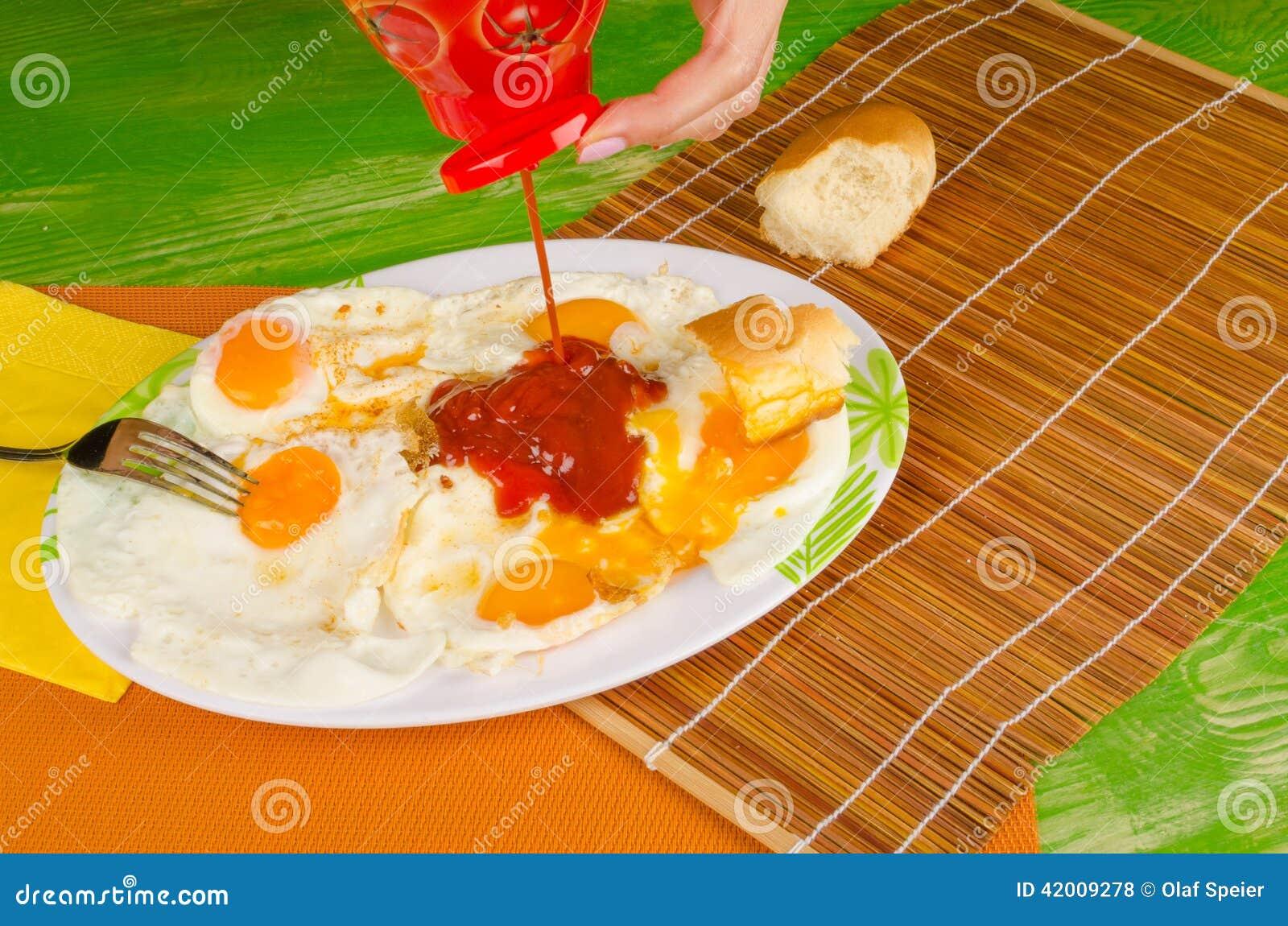 Ketchup On Eggs Stock Photo - Image: 42009278