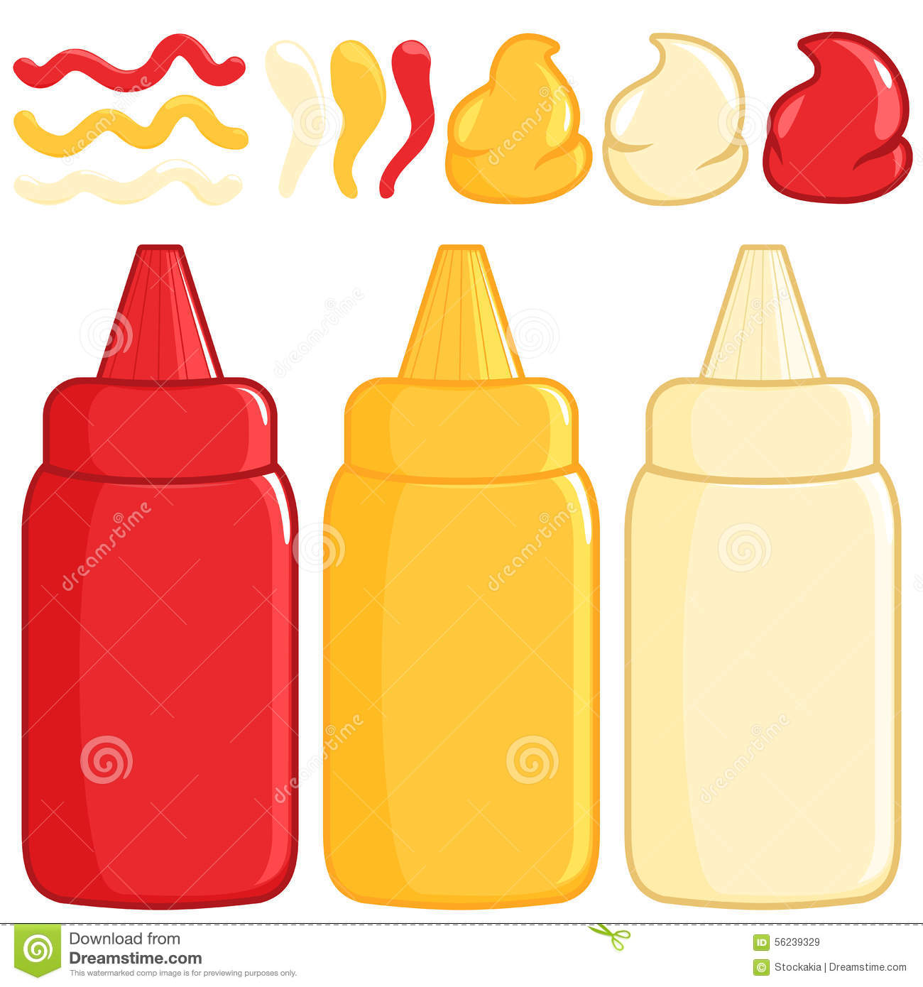 Ketchup Mustard And Mayonnaise Stock Vector Image 56239329