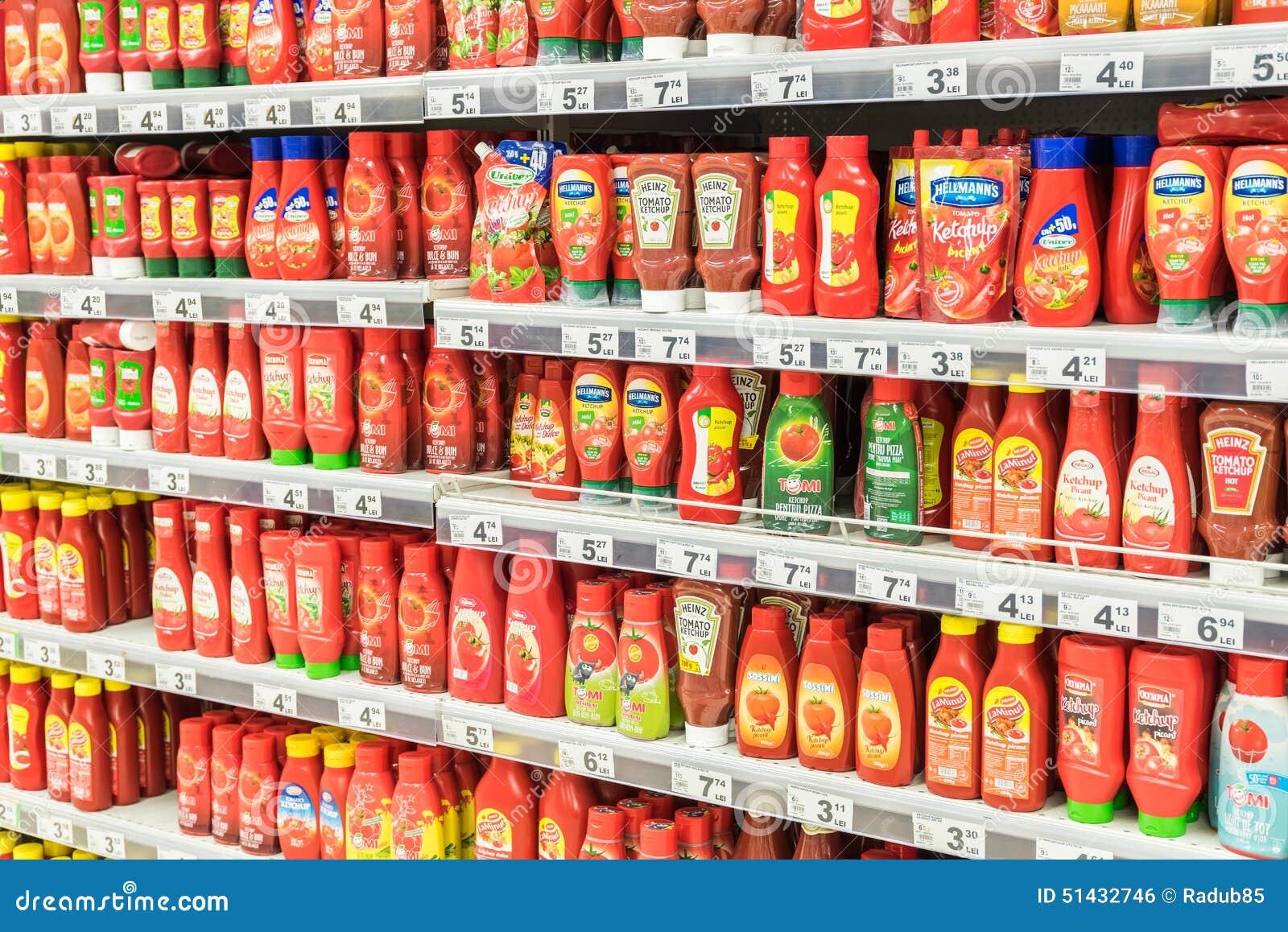 Ketchup Tomato Sauce Bottles On Supermarket Shelf ...
