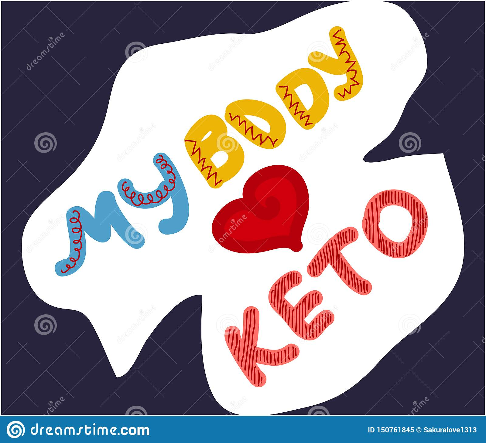 Keto diet hand drawn lettering. Low carb diet clipart, sticker. My body loves keto quote