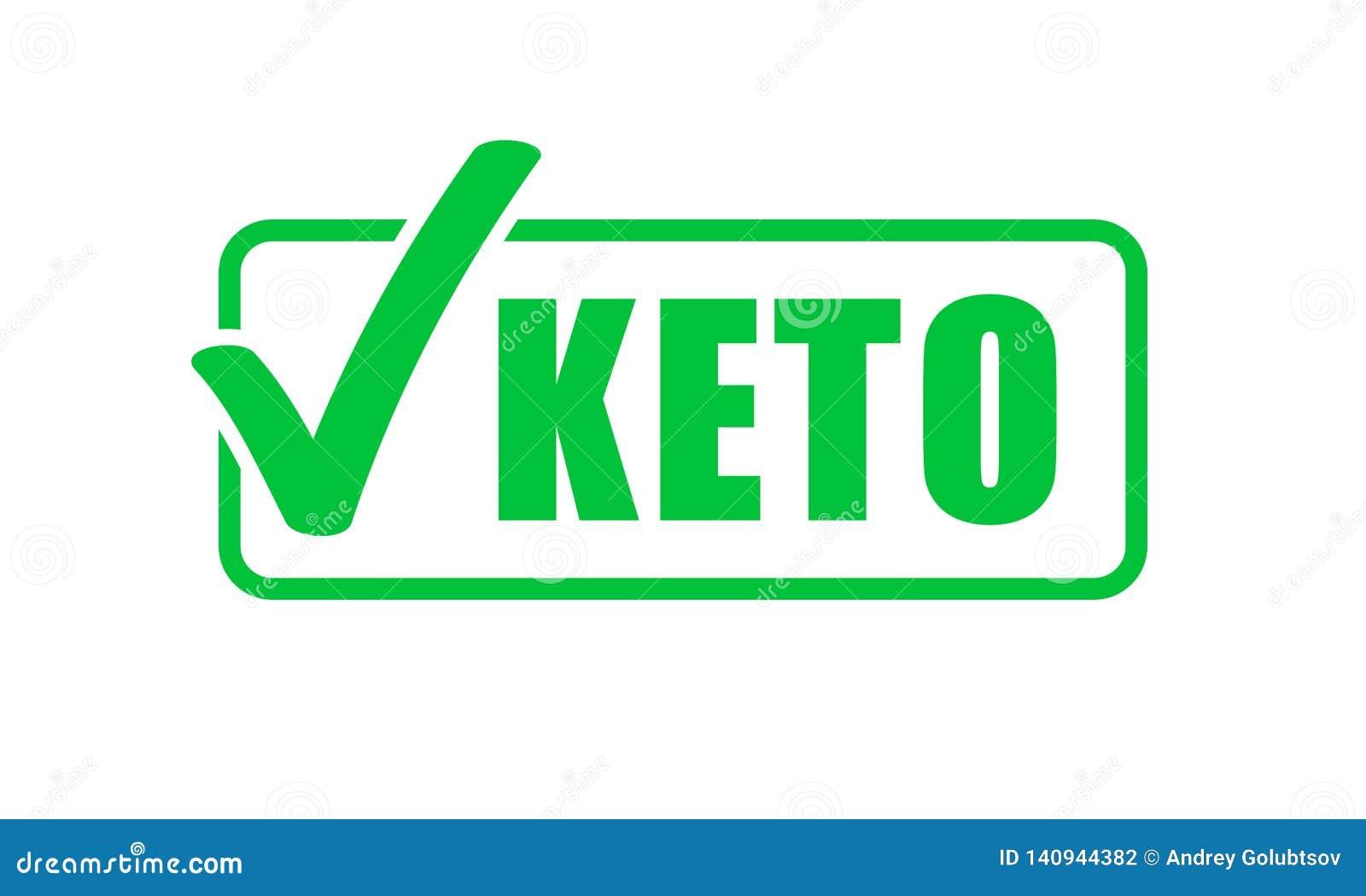 Keto groene het vinkjezegel van het dieetetiket Ketogenic dieet vectorpictogram