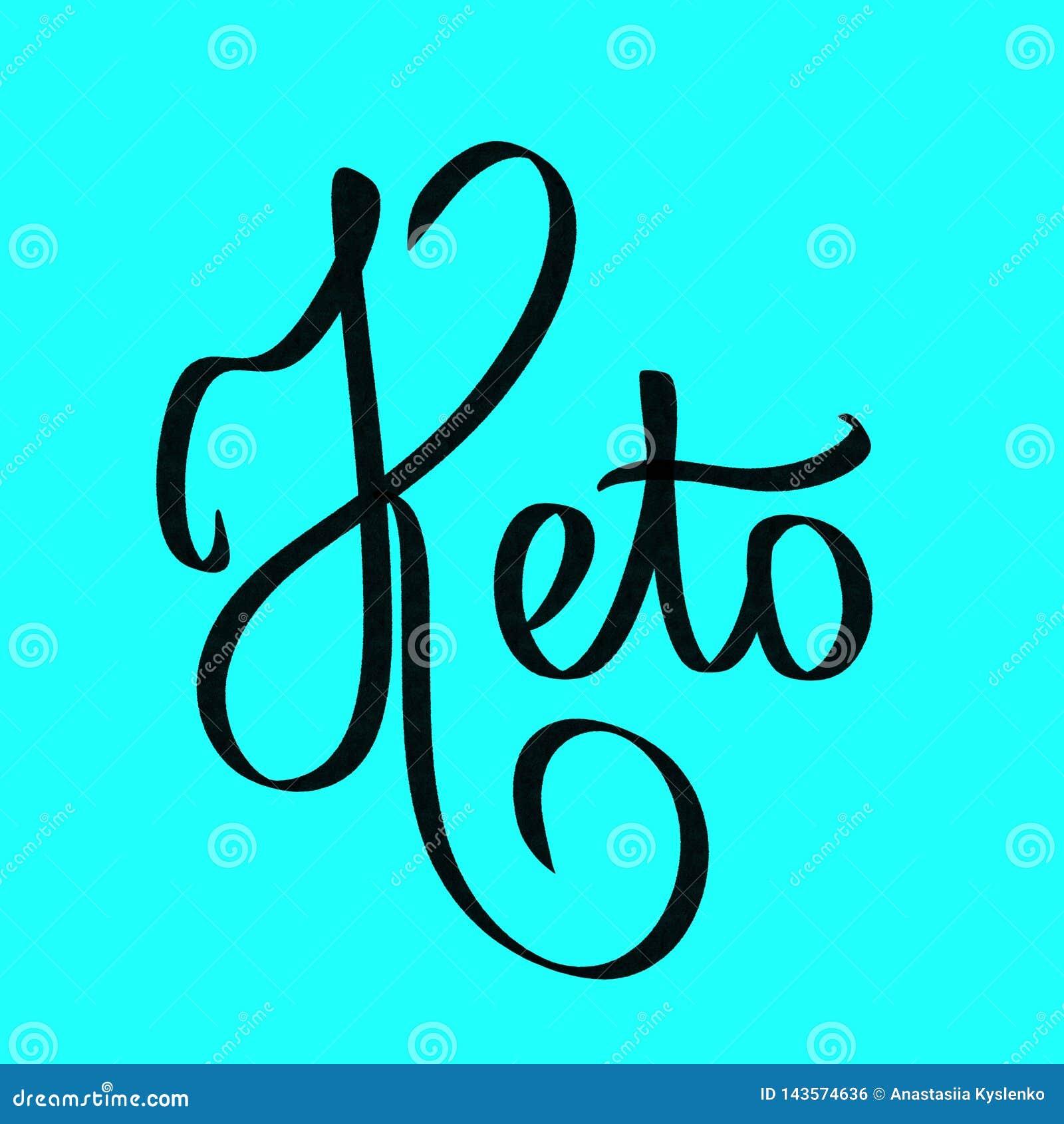 Keto. Lettering short word. Keto diet illustration. Black sign on blue background. Ketogenic nutrition phrase. Poster, banner