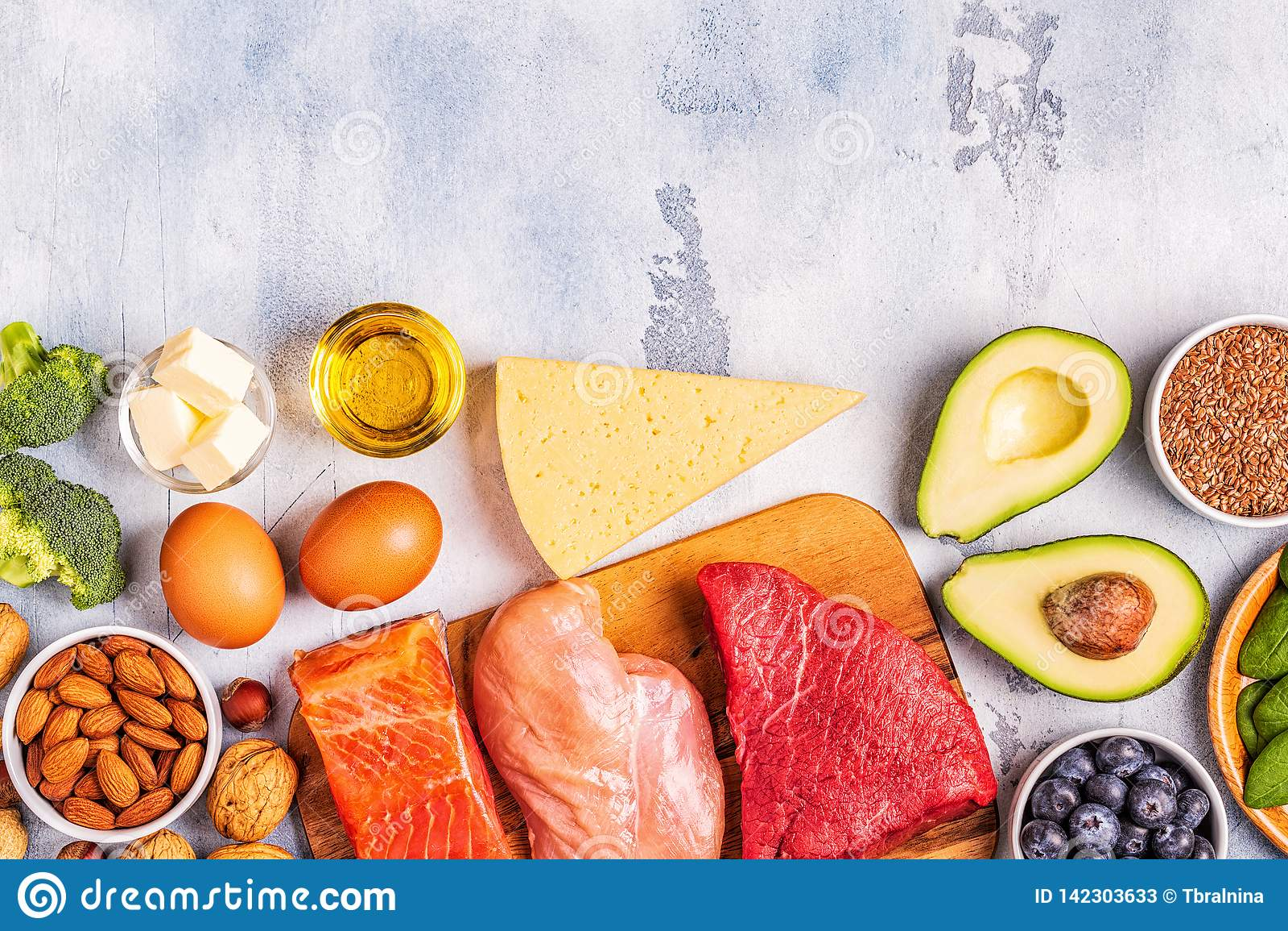 Balanced Low Carb, High Good Fat , Healthy Food Stock ...