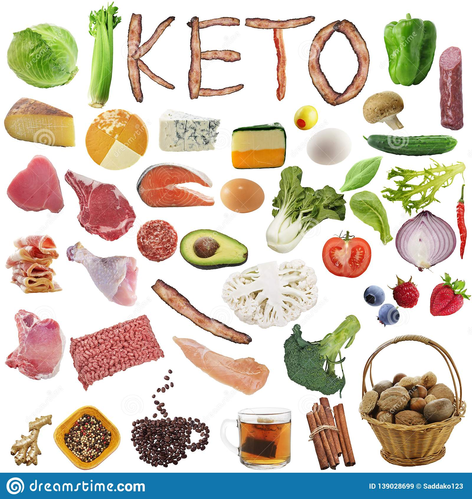 Diets Low Carbohydrate: Ketogenic Diet Food. Balanced Low-carb Food On White