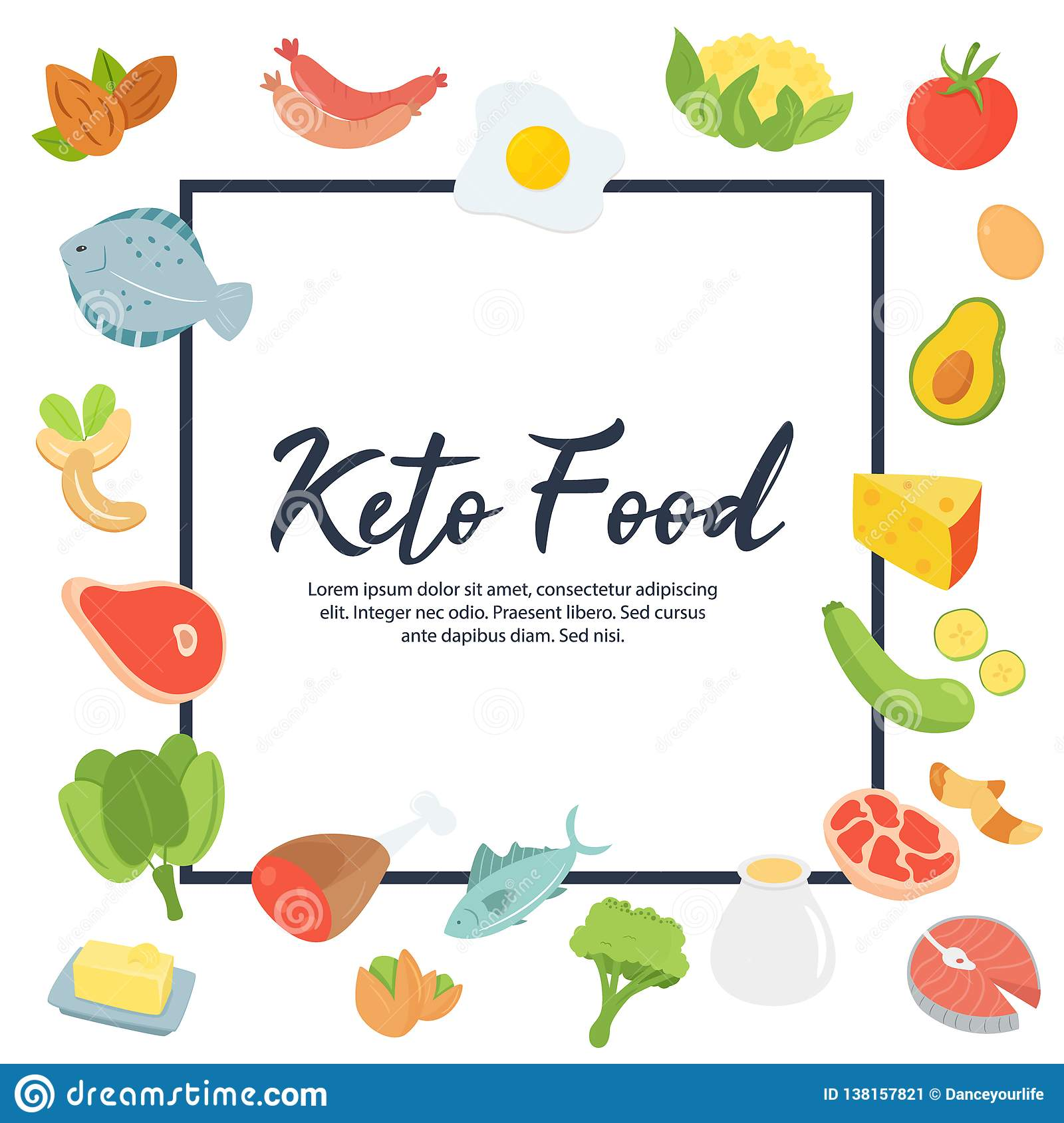 Ketogenic Diet Food Low Carb High Healthy Fats Stock Vector Illustration Of Decor Carbohydrates 138157821