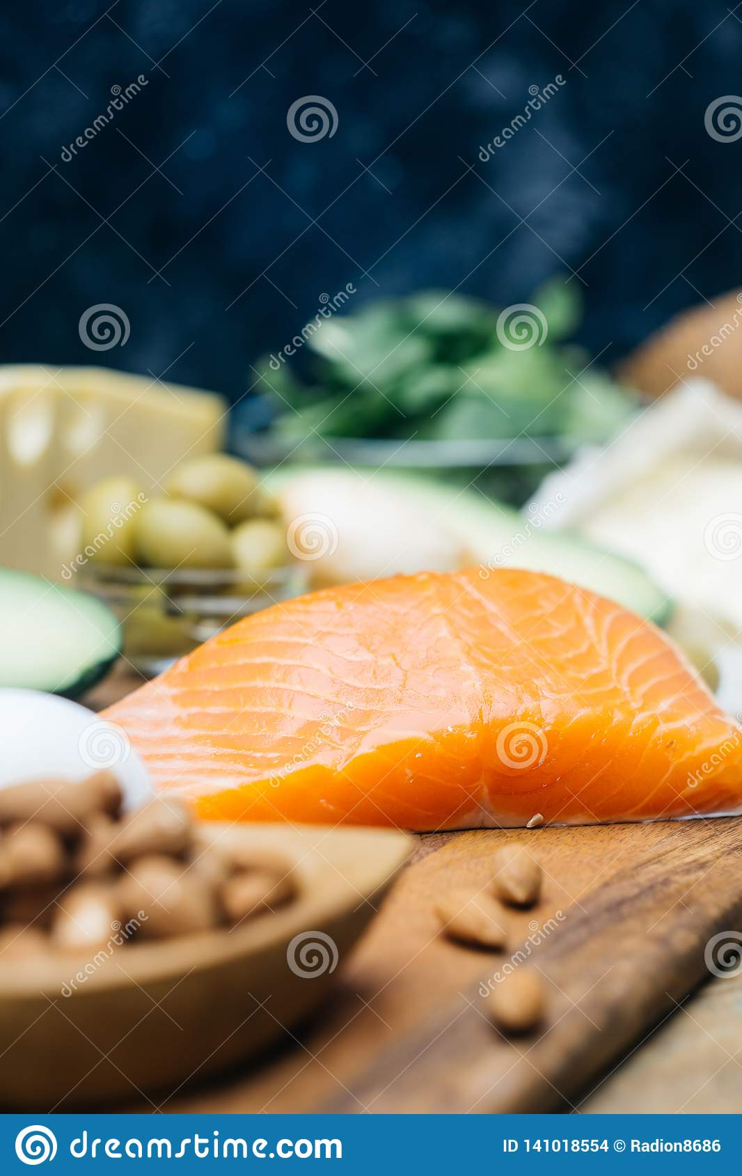 KETOGENIC DIET. Low carbs hight fat products. Healthy eating food, meal plan protein fat. Healthy nutrition. Keto lunch.