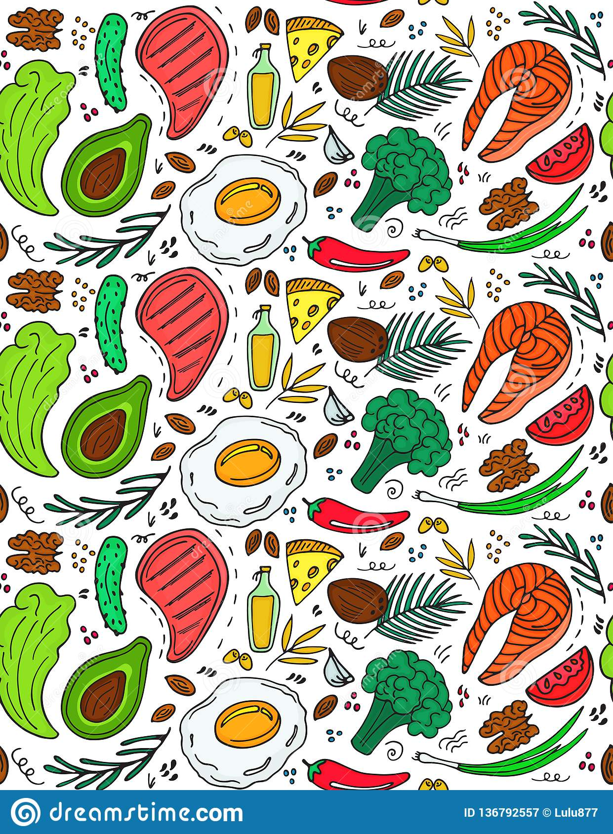 Ketogenic diet seamless pattern in hand drawn doodle style. Low carb dieting. Paleo nutrition. Keto meal protein and fat