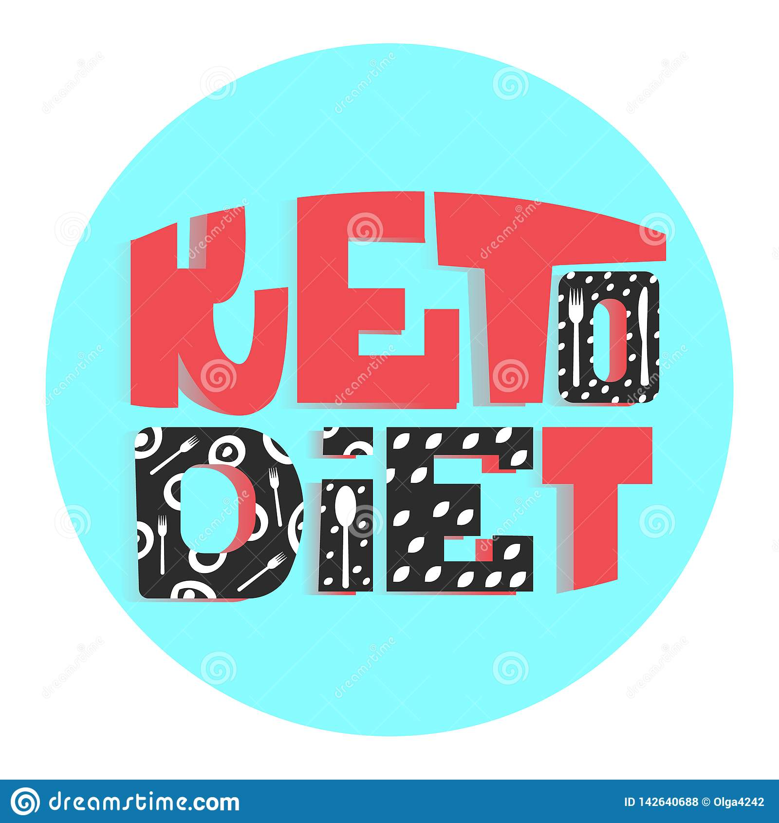 Ketogenic dieta slogan zdrowy łasowanie literowanie kolorowi kolory