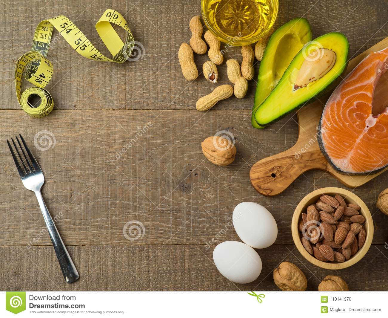 Ketogenic low carbs diet concept