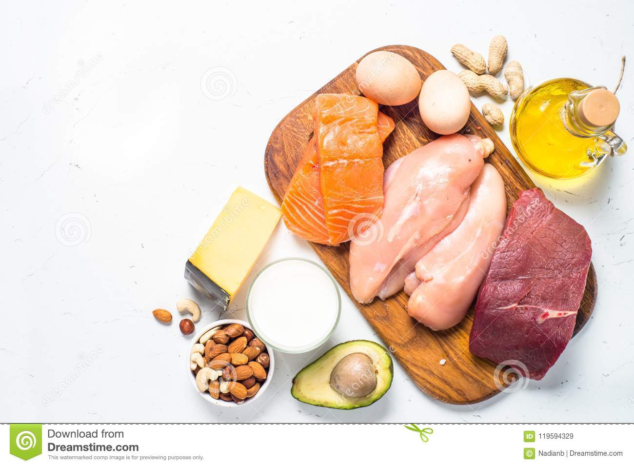 Ketogenic Low Carbs Diet On White Stock Image Image Of Cheese