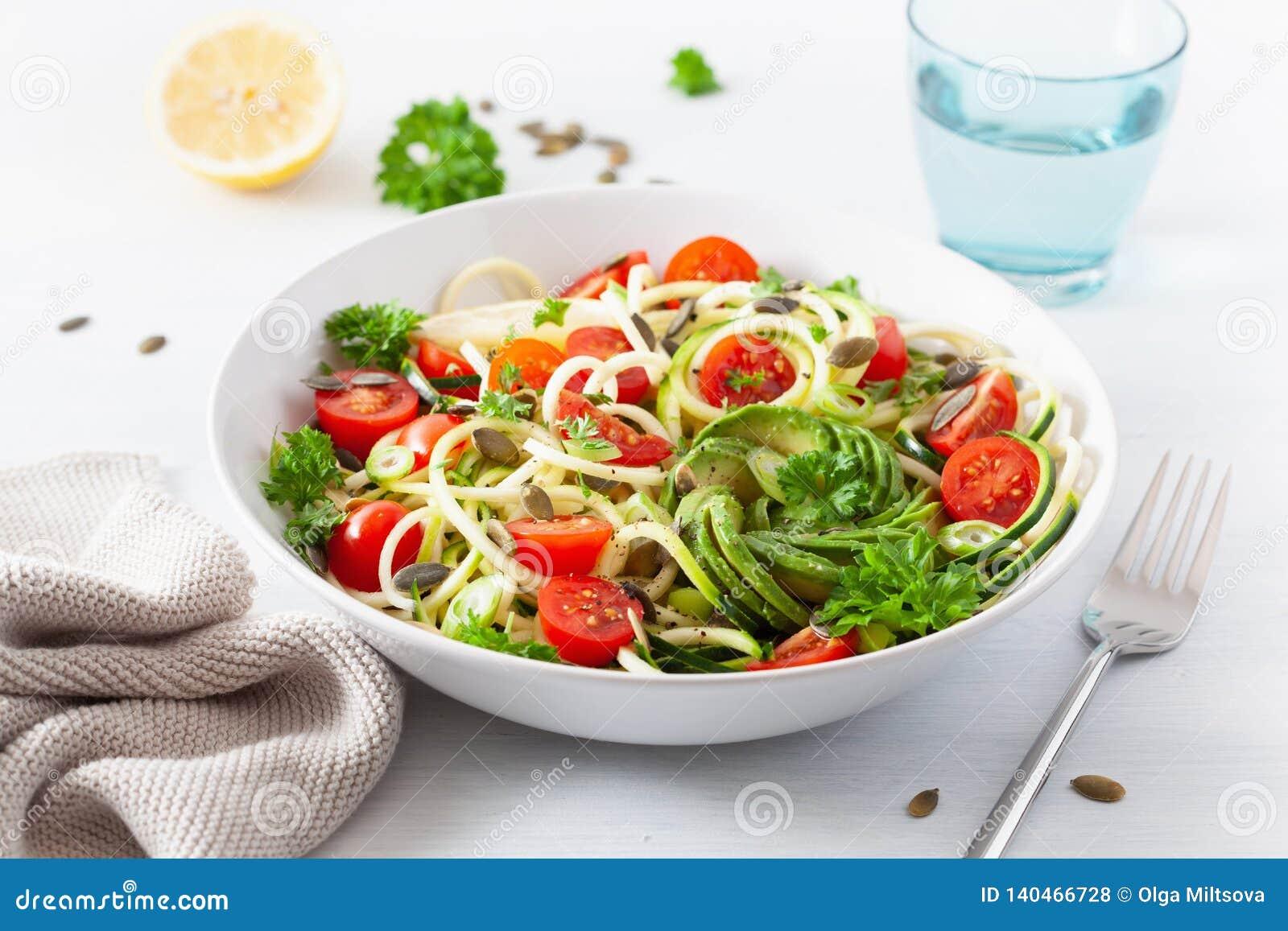 Ketogenic spiralized zucchinisallad för strikt vegetarian med frö för avokadotomatpumpa