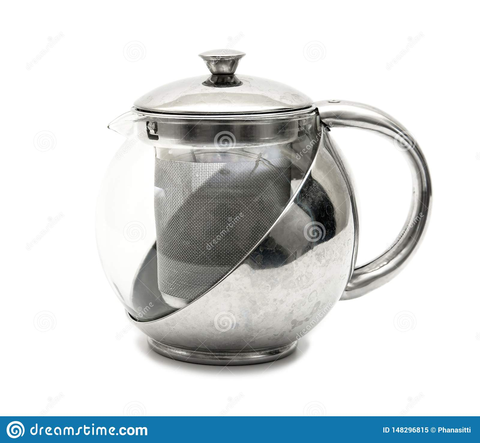 Kettle tea on white background. Modern stainless tea pot isolated