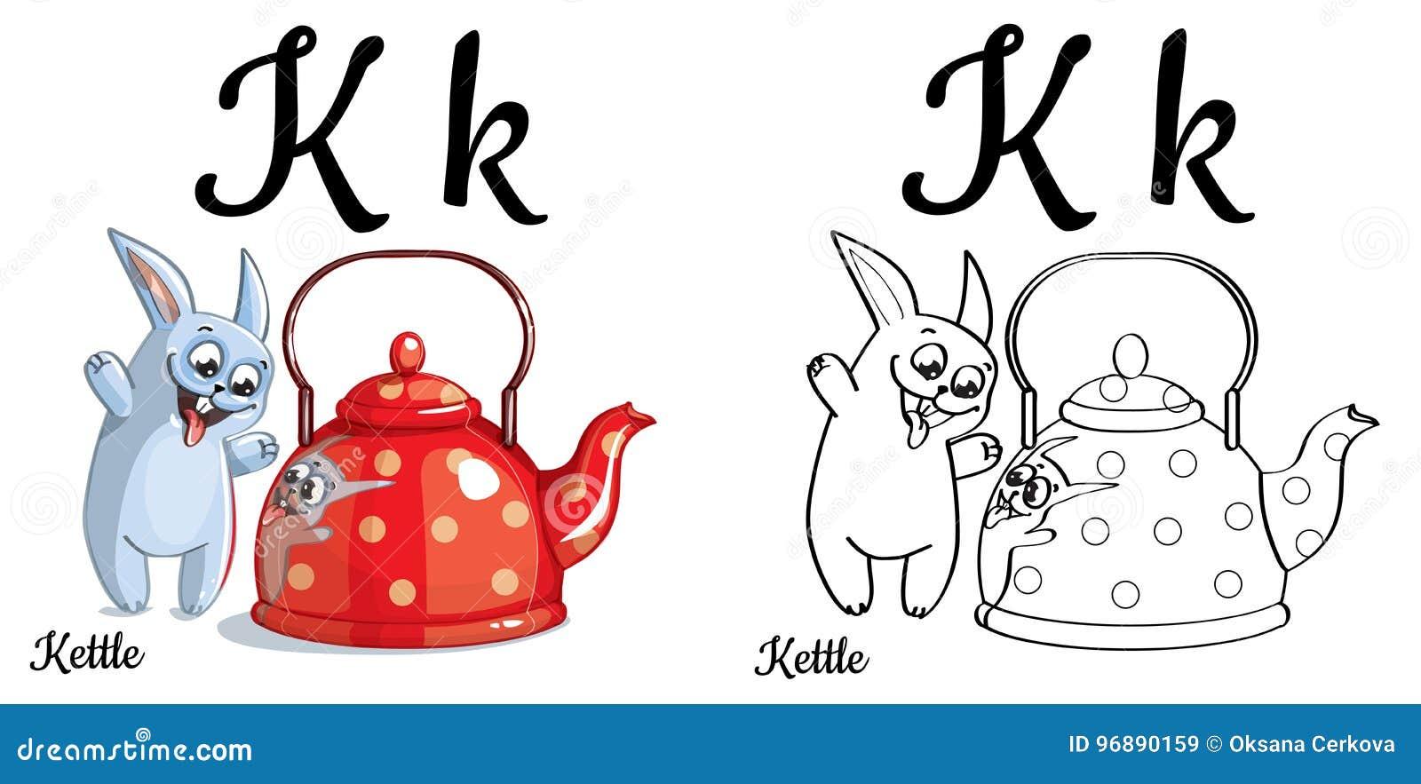 Kettle Vector Alphabet Letter K Coloring Page Stock Illustration - Letter-k-coloring-page