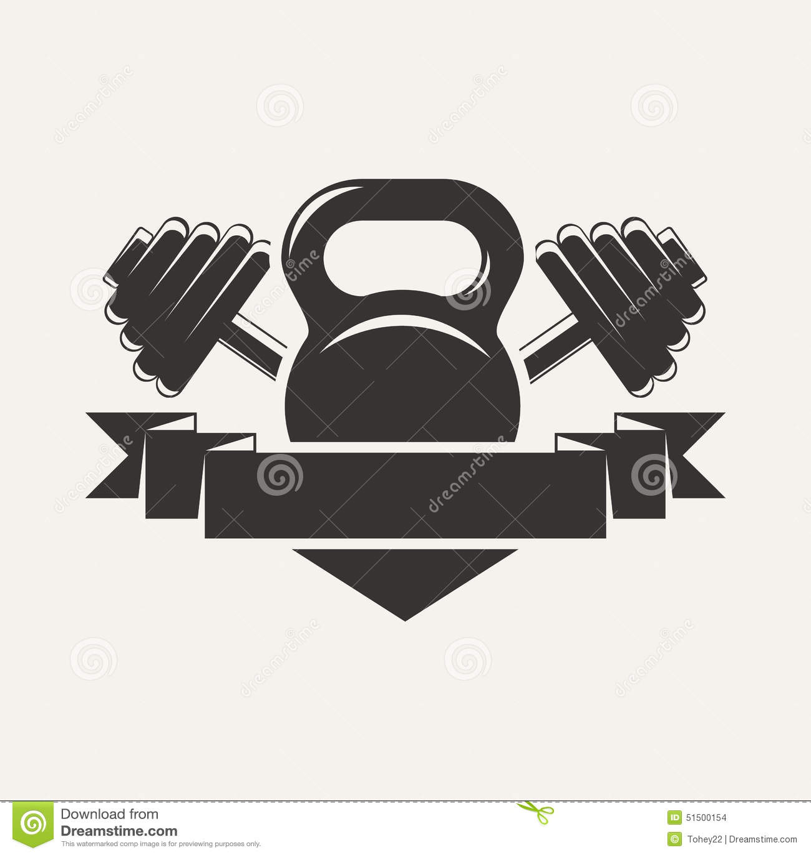 Gym Equipment Logo: Kettlebell And Dumbbell With Baner Logo Stock Vector