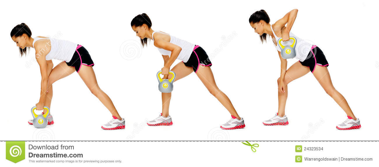 Series of kettlebell weight exercise sequence to promote strength and ...