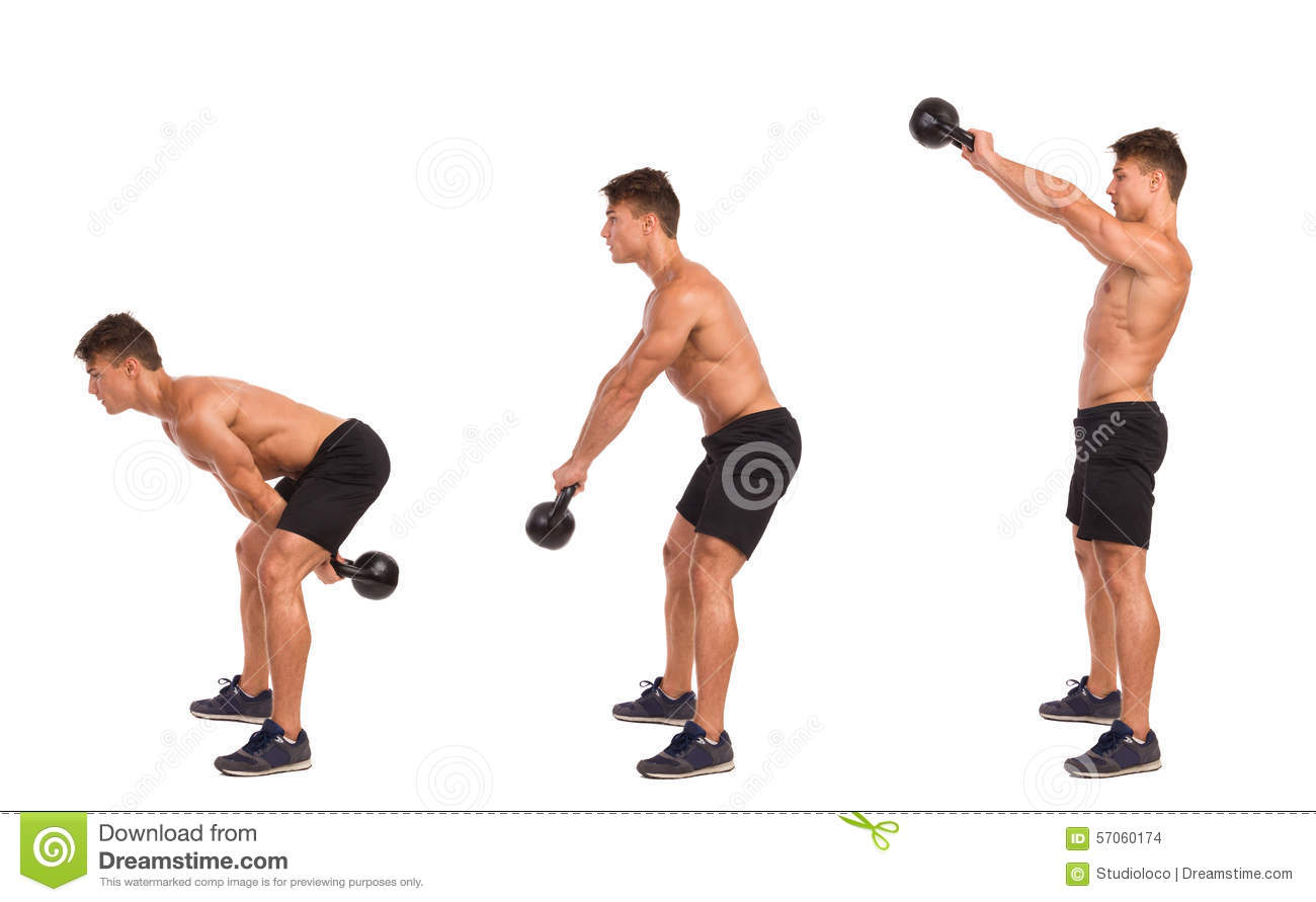 Kettlebell Exercise Step By Step Stock Photo Image Of