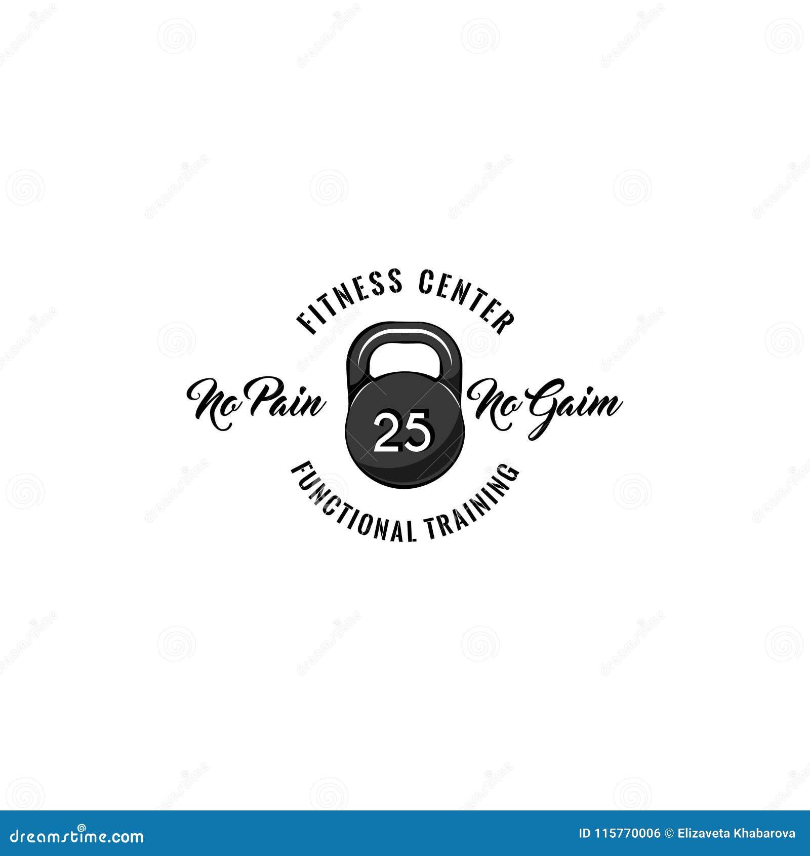Kettlebell ikona Sprawności fizycznej centrum loga odznaki etykietka Czynnościowy stażowy tekst zyskuje żadnego ból Sporta znak w