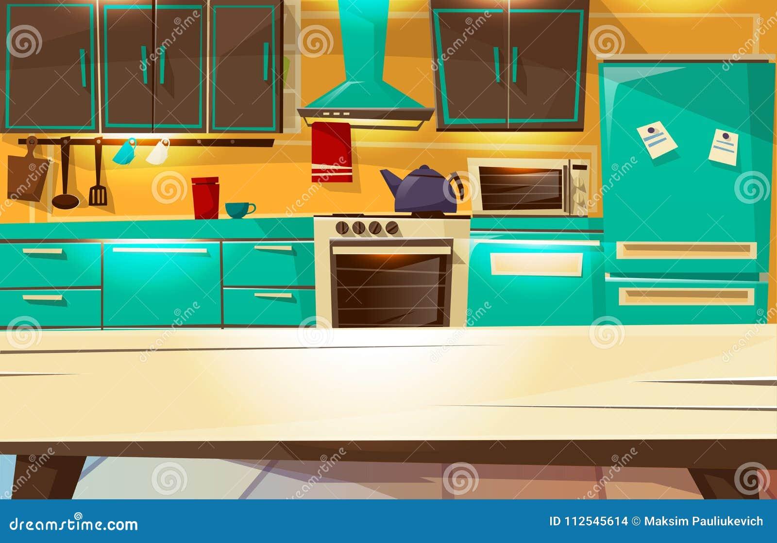 Moderne Retro Keuken : Keuken binnenlandse achtergrond vectorbeeldverhaalillustratie van
