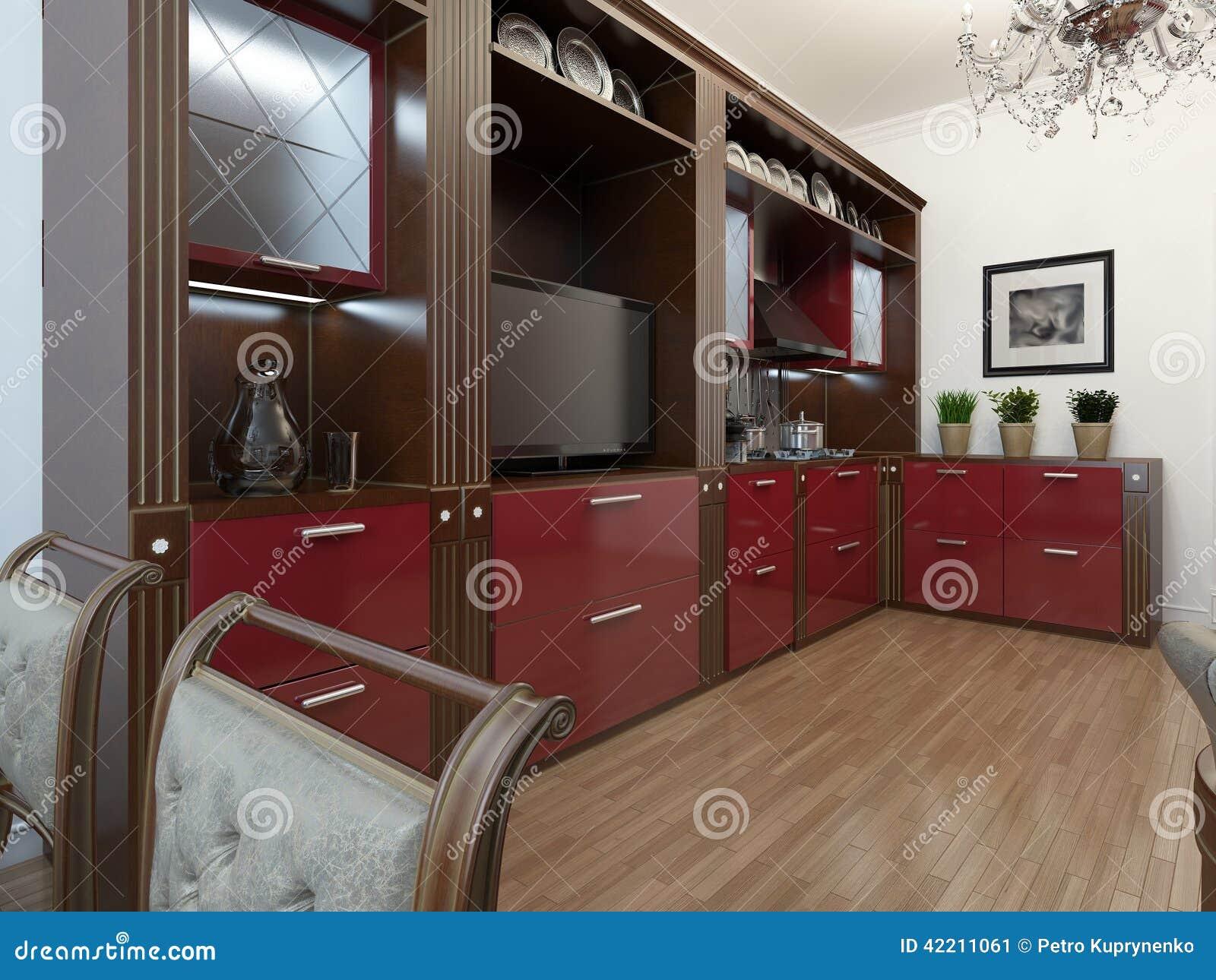 Keuken in de art deco stijl stock illustratie afbeelding 42211061 - Deco stijl chalet ...