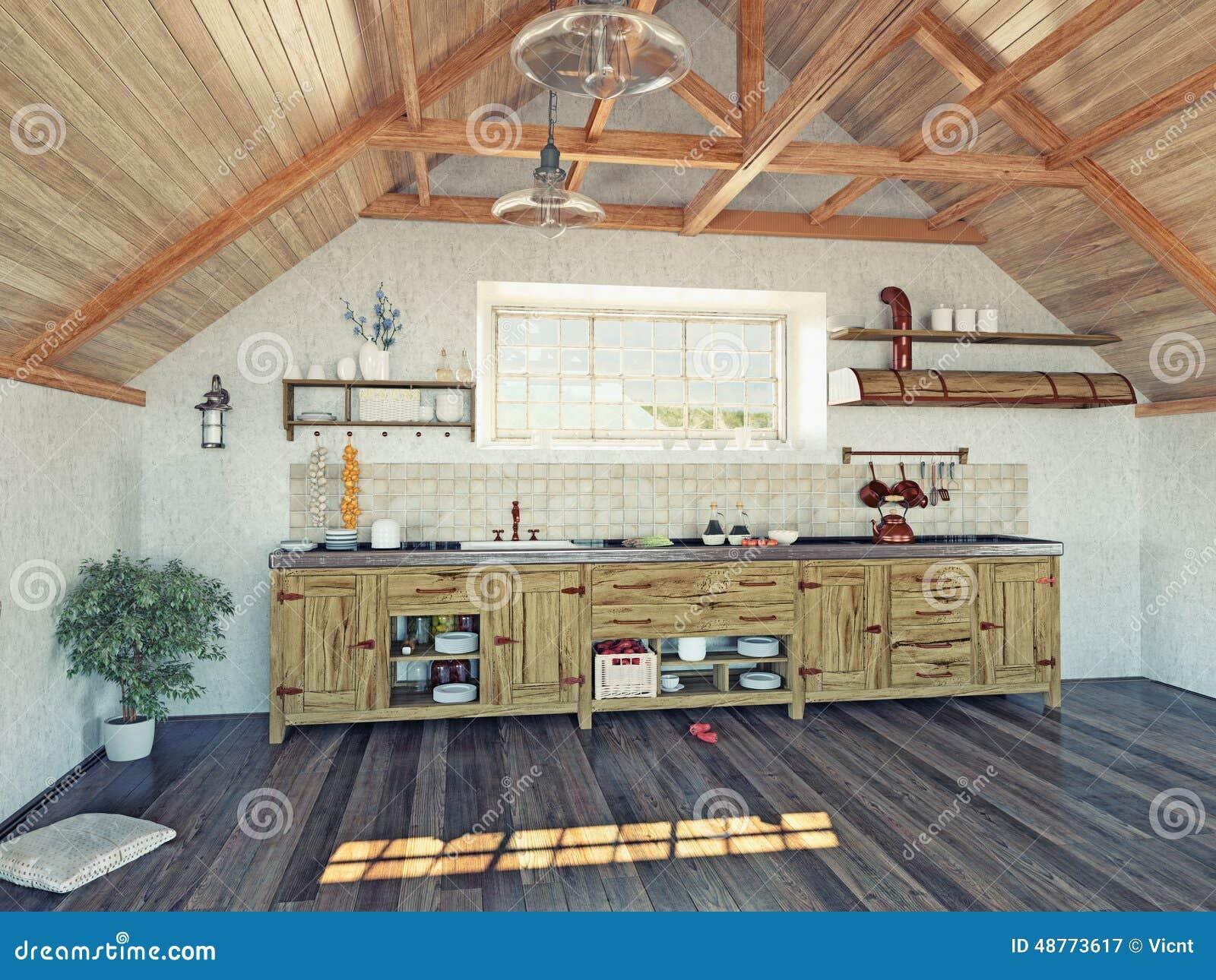 Keuken in de zolder