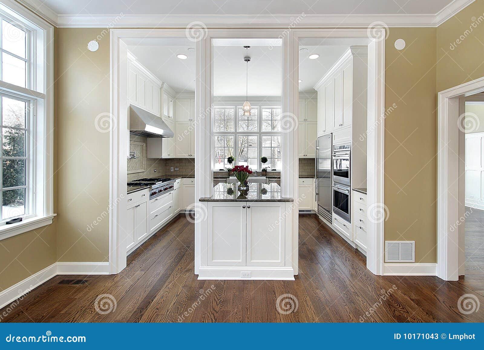 Keuken en eiland in nieuwe bouwhuis stock afbeelding afbeelding 10171043 - Meubilair outdoor houten keuken ...