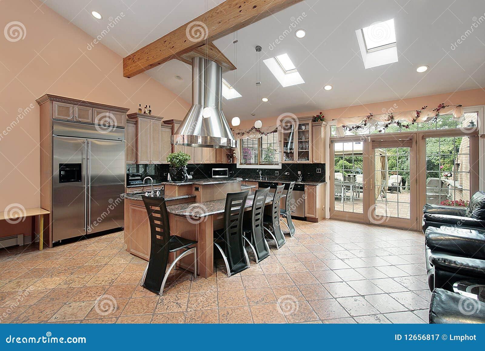 Keuken Met Dakraam : Keuken met dakramen stock afbeelding. afbeelding bestaande uit