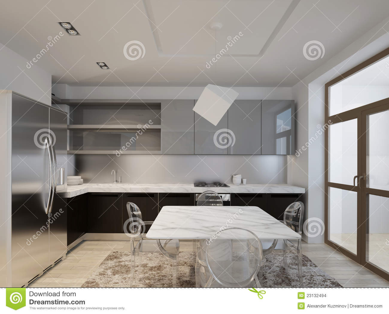 Keuken met donker hout stock afbeeldingen   afbeelding: 23132494