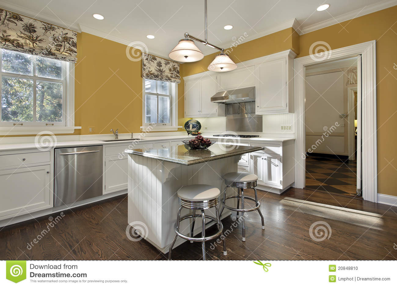 Keuken met gouden muren stock foto beeld 20848810 - Groene en witte keuken ...