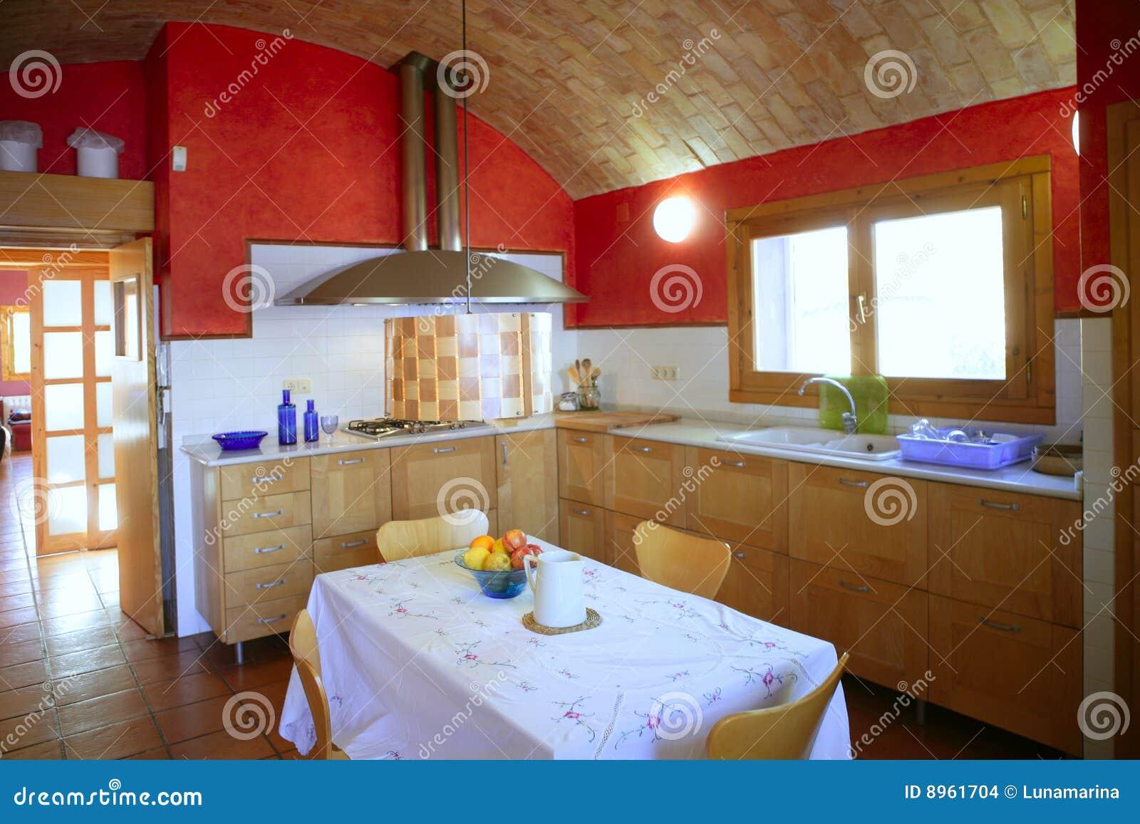 Keuken met tongewelf het ceeling stock foto afbeelding 8961704 - Keuken met rode baksteen ...