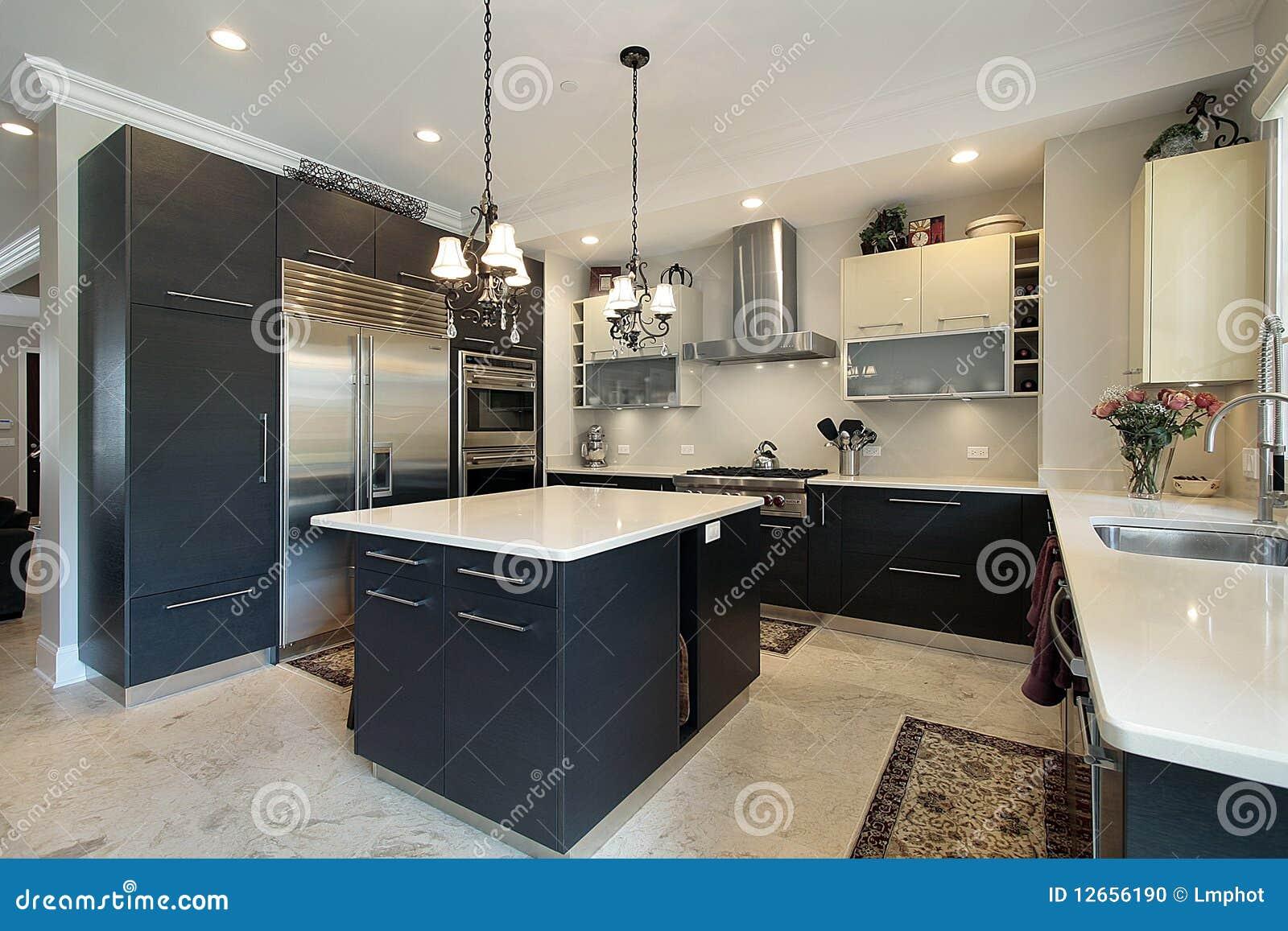 Keuken Met Zwarte Kabinetten Stock Foto - Afbeelding: 12656190