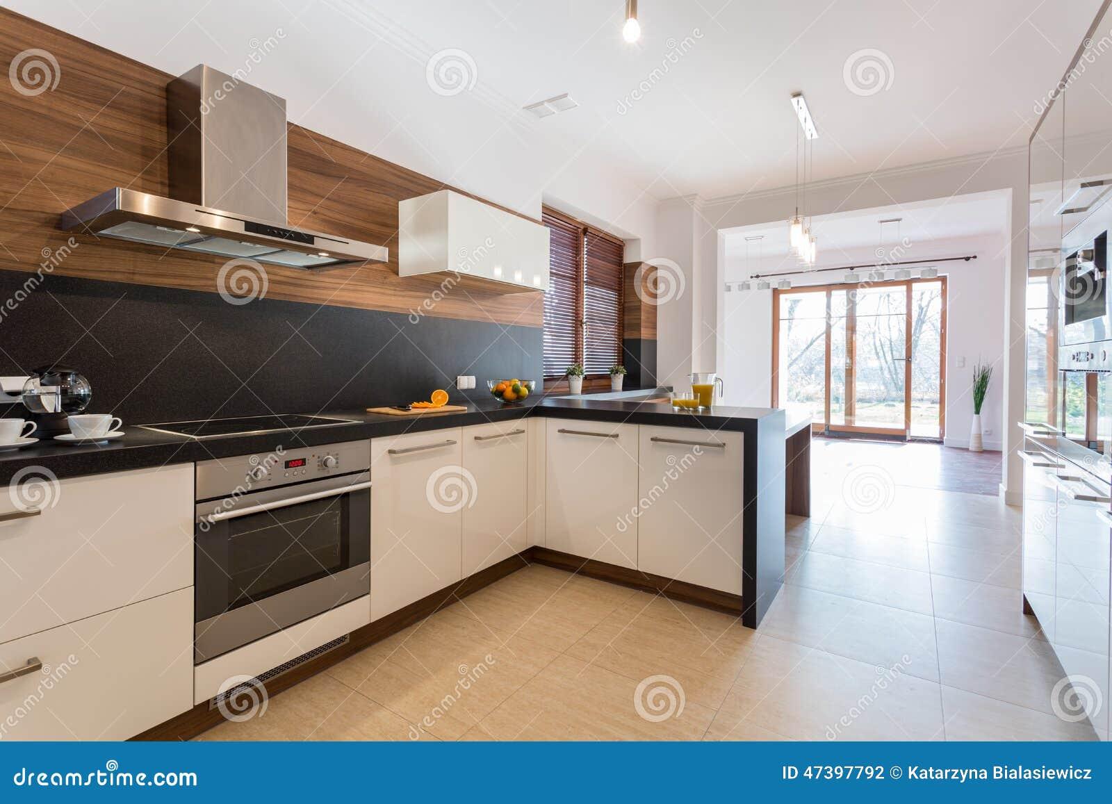Keuken open op eetkamer stock foto afbeelding 47397792 - Cuisine moderne ouverte sur salon ...