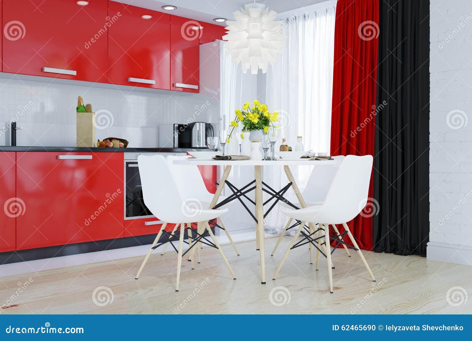 Keuken in rood, zwart wit, stock illustratie   afbeelding: 62465690