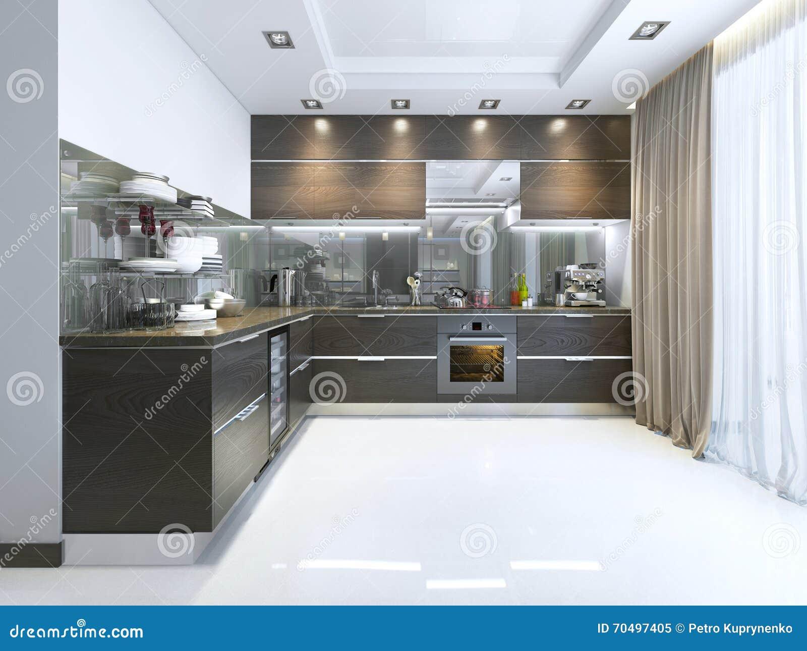 Keuken tijdgenoot in bruin met witte muren en marmeren vloeren ...