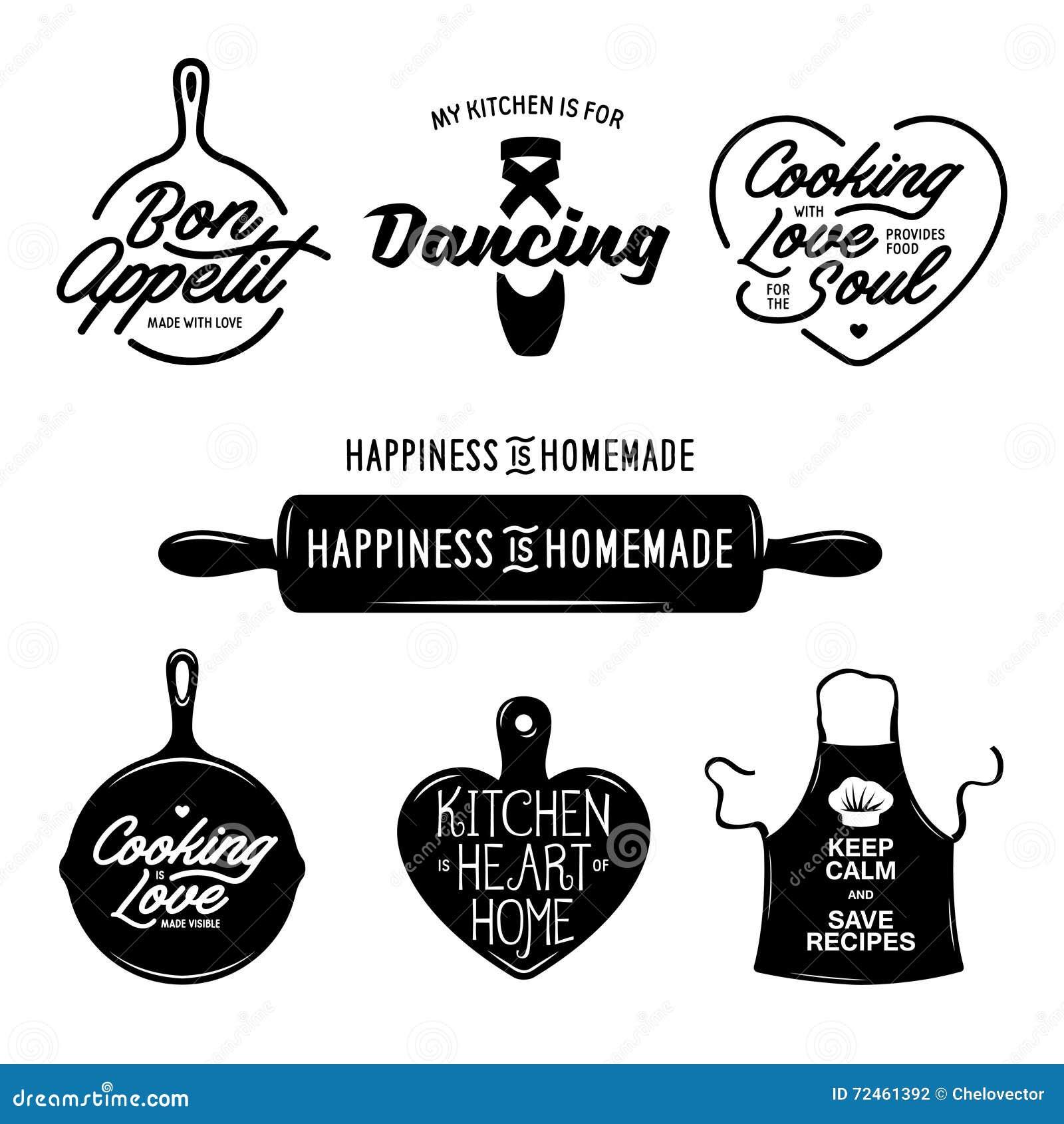 Keuken verwante typografiereeks Citaten over het koken Uitstekende vectorillustratie