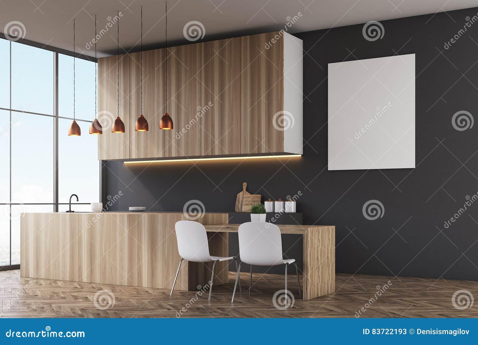 Keuken zwarte muur en affiche stock illustratie afbeelding 83722193 - Keuken rode en grijze muur ...