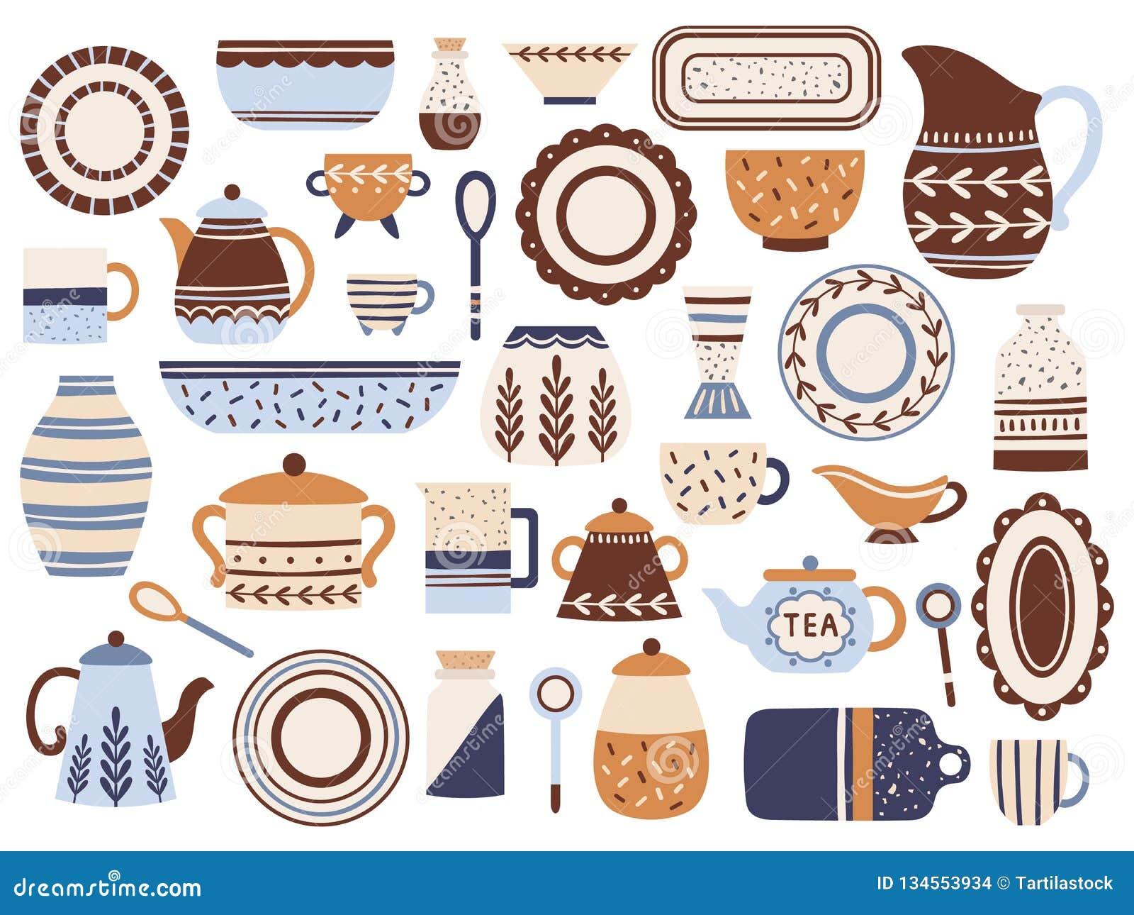 Keukenaardewerk Ceramische cookware, porseleinkoppen en glaswerkkruik Het keukenvaatwerk isoleerde vlakke punten vectorreeks