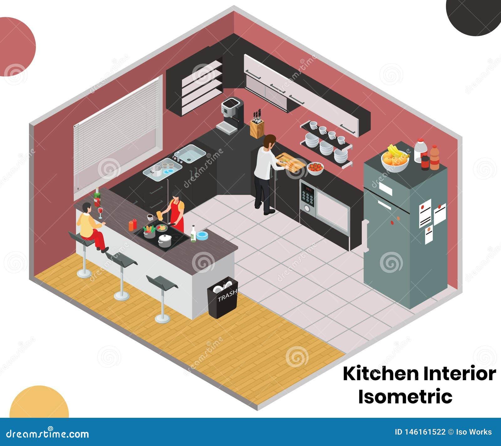 Keukenbinnenland van een Concept van het Huis Isometrisch Kunstwerk